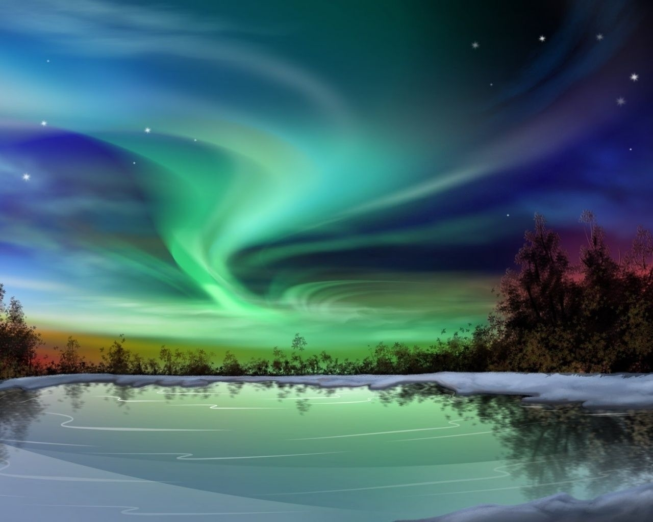 1280x1024 aurora borealis night winter | northern lights | pinterest
