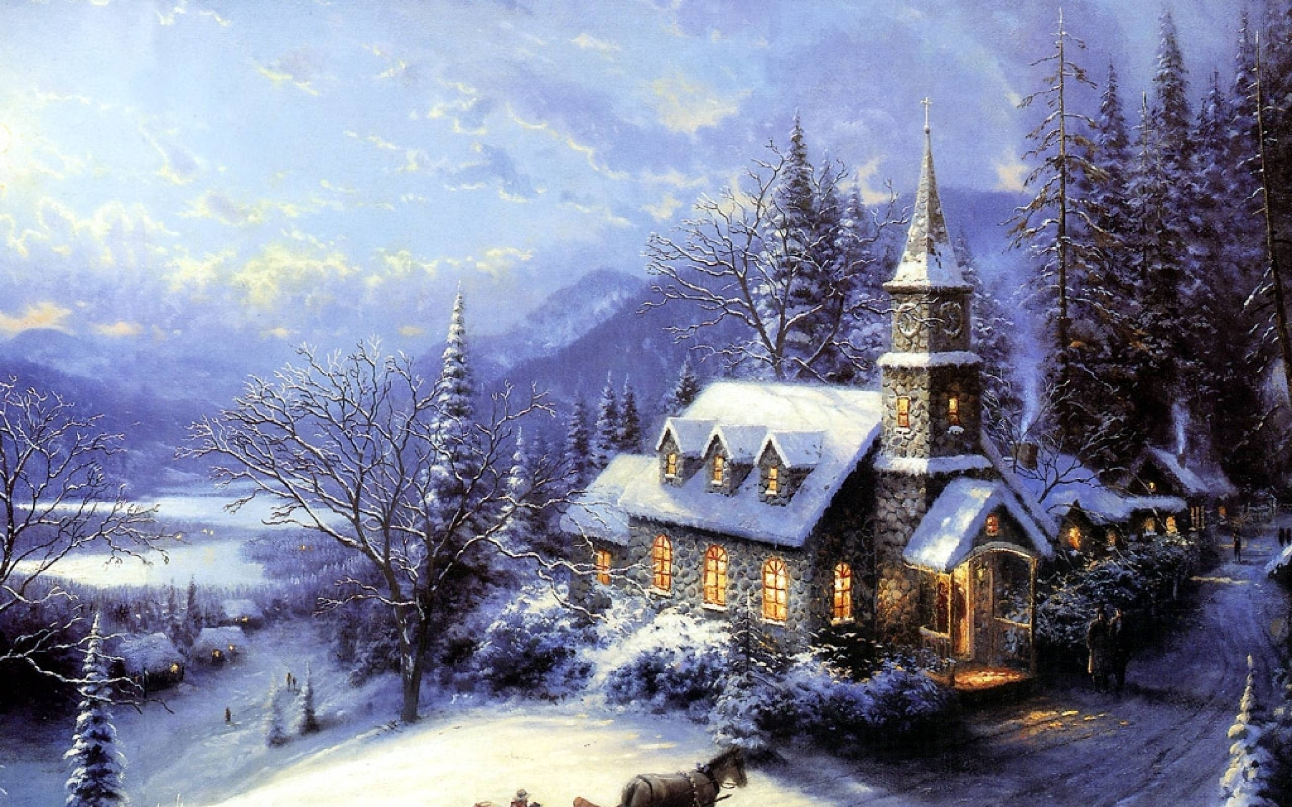 2015 free thomas kinkade christmas screensavers - wallpapers, images