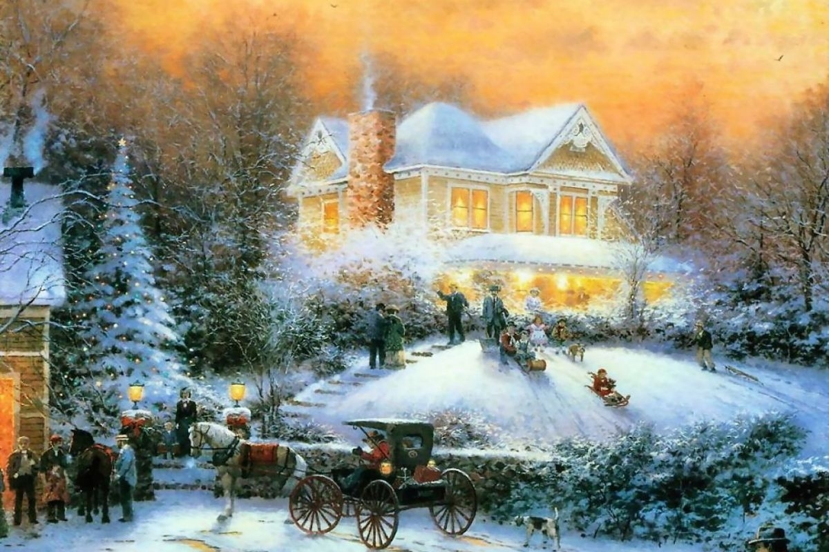 10 New Thomas Kinkade Christmas Wallpaper Hd FULL HD 1920×1080 For ...