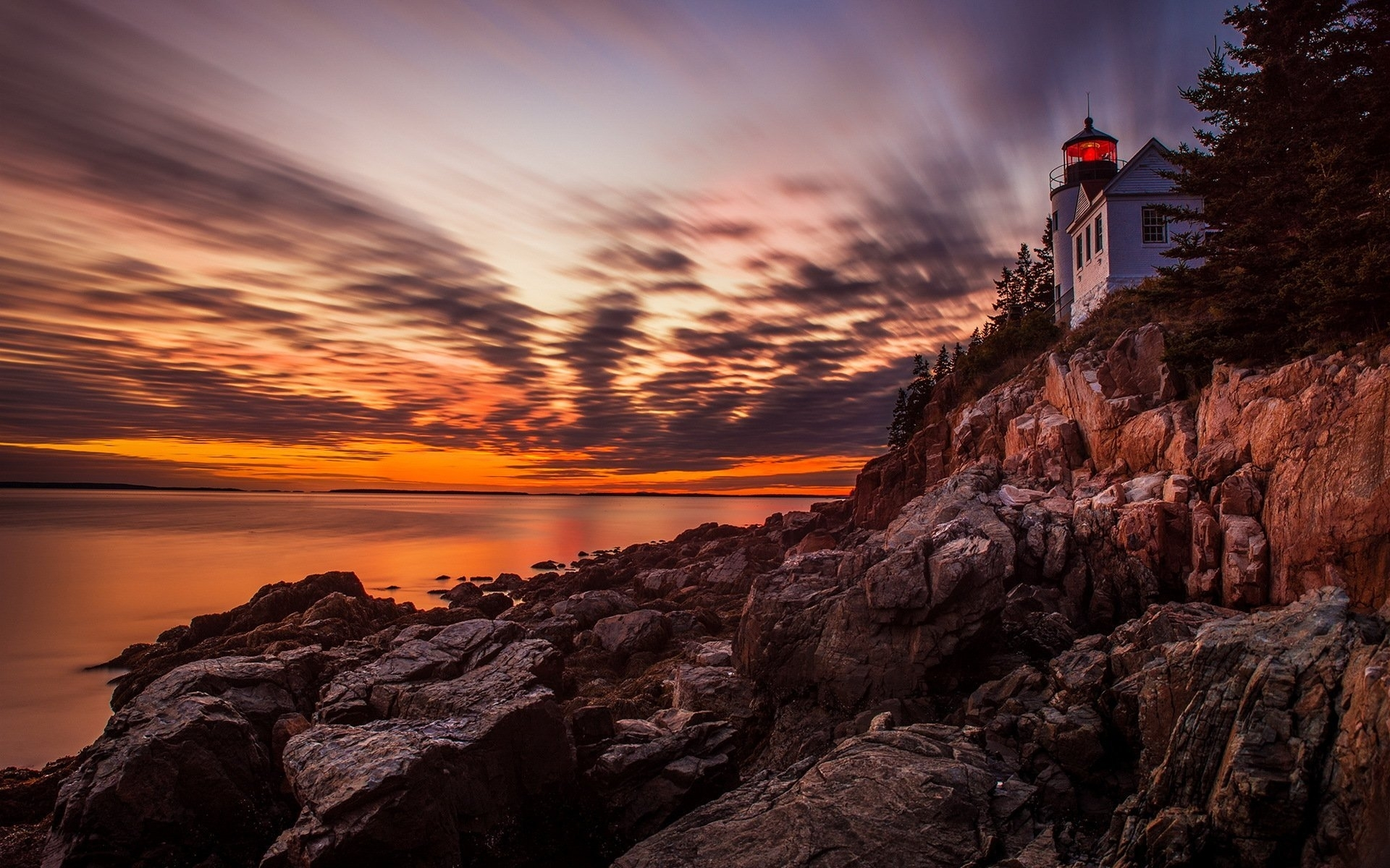 acadia national park sunset lighthouse hd wallpaper