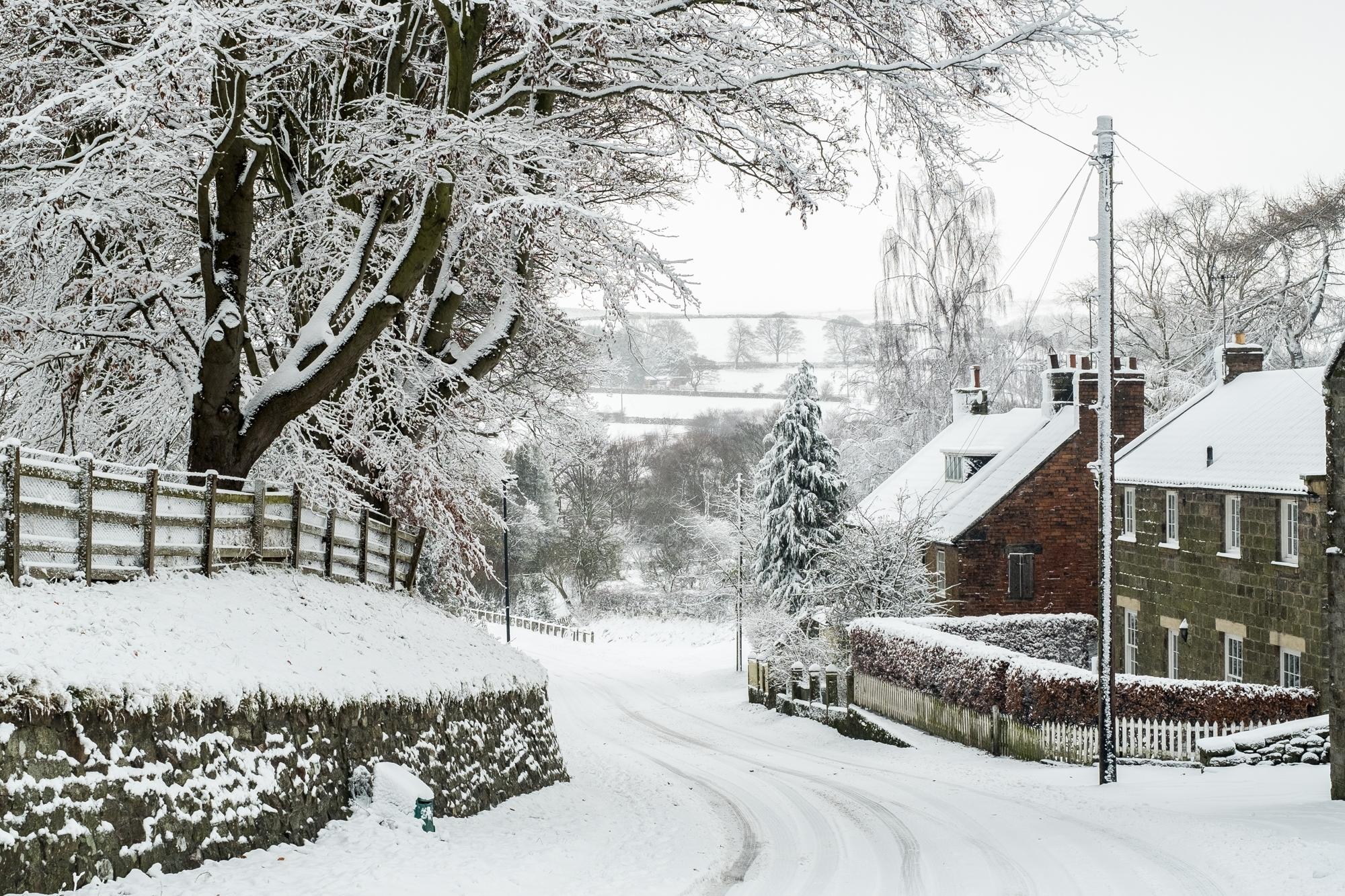 ainthorpe village snow scenes - danby, north york moors a5 christmas