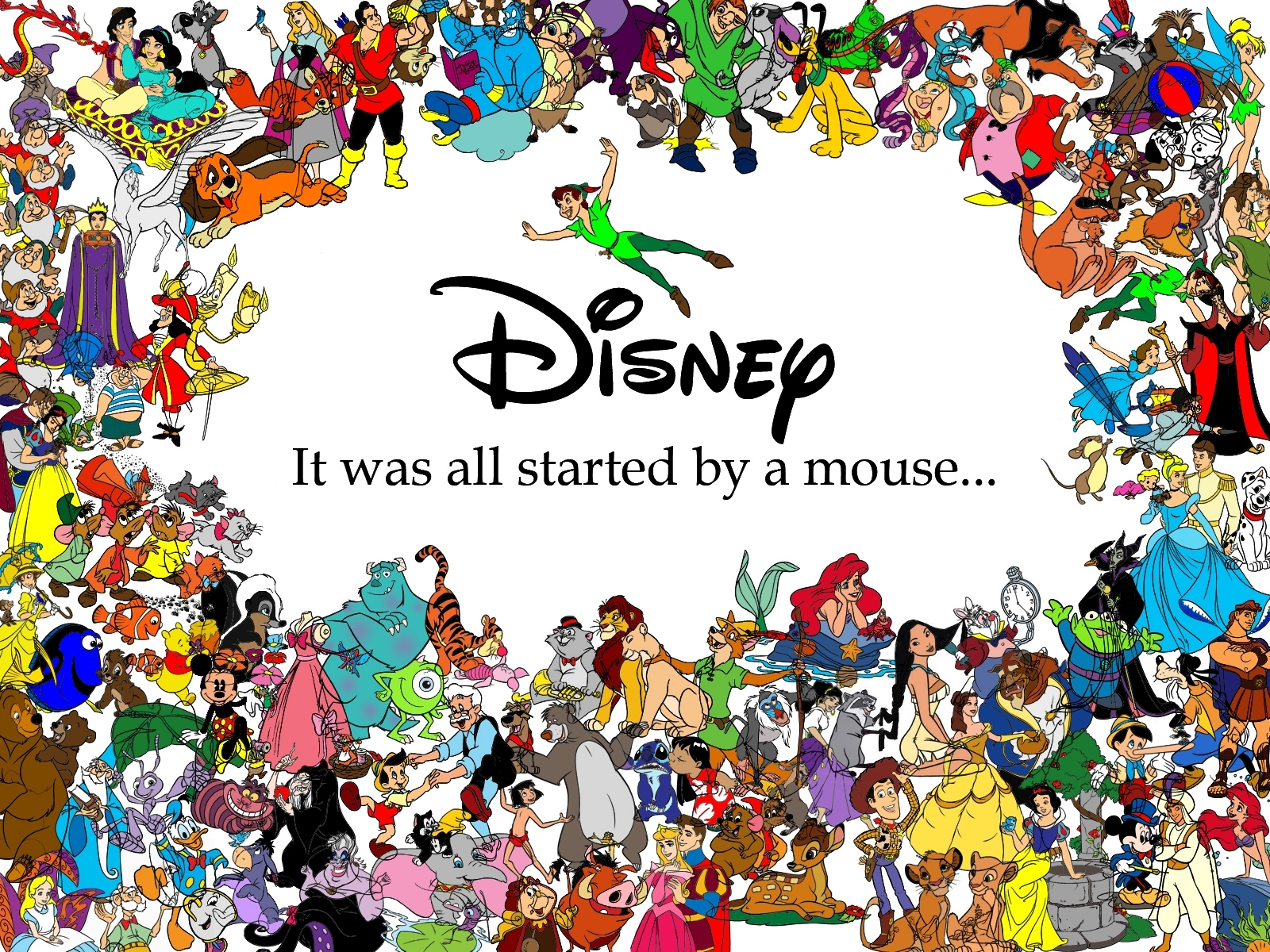 all disney characters hd background 1600×1200 - high definition