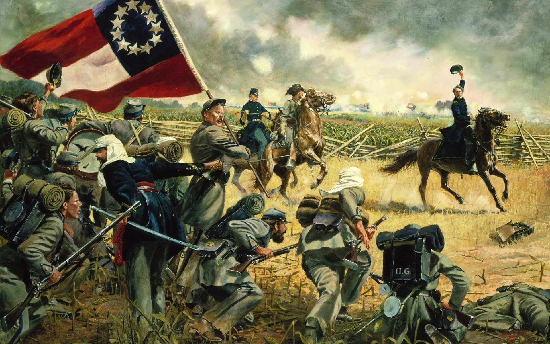 american civil war wallpapers, art, painting | hd desktop wallpapers