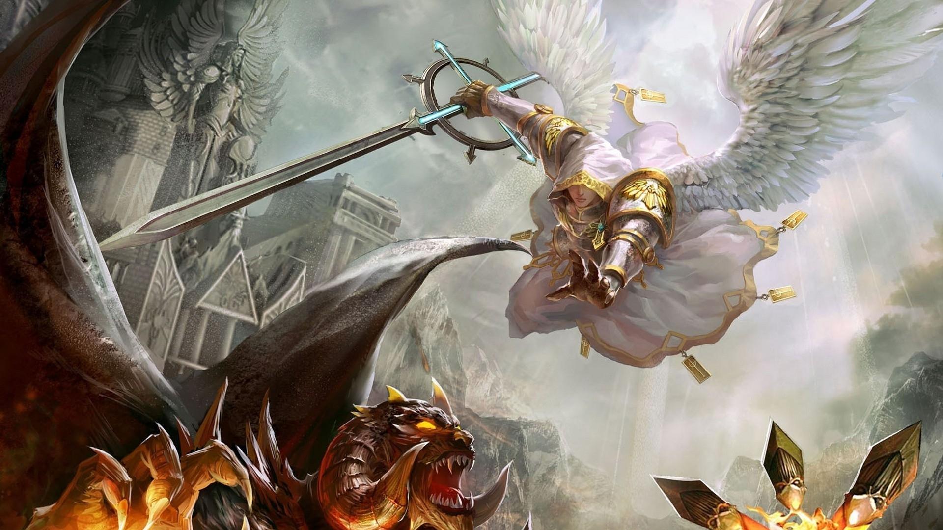 angel vs demon wallpaper