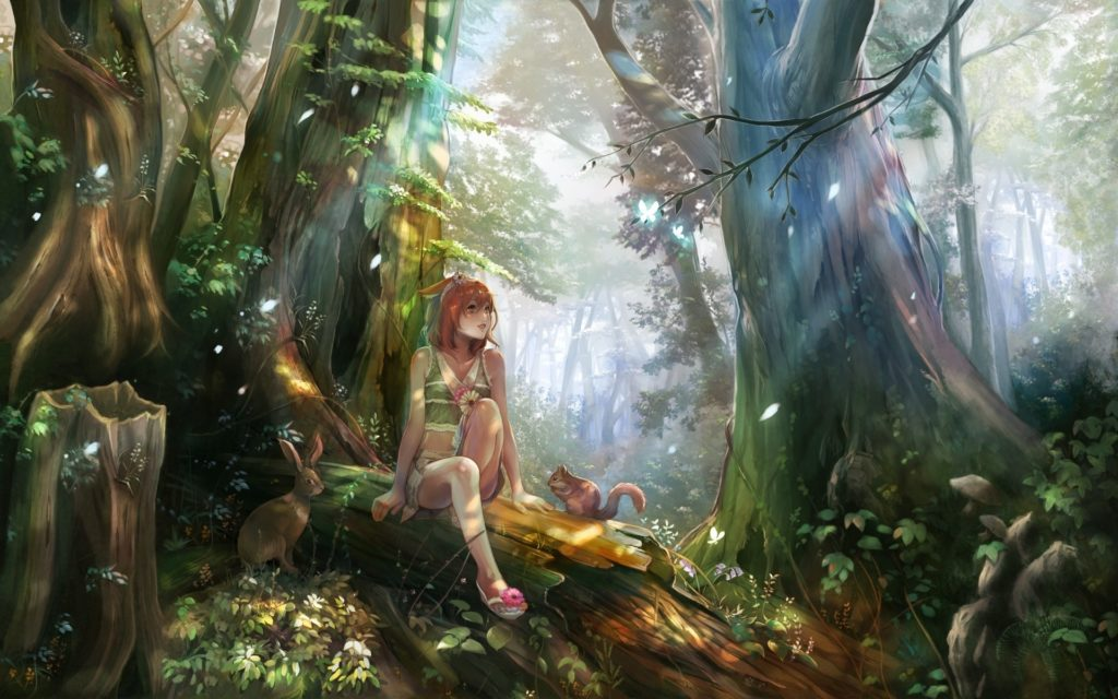 10 Best Anime Forest Clearing Background FULL HD 1080p For PC Desktop 2018 free download anime girls forest nature fantasy art forest clearing elves 1024x640