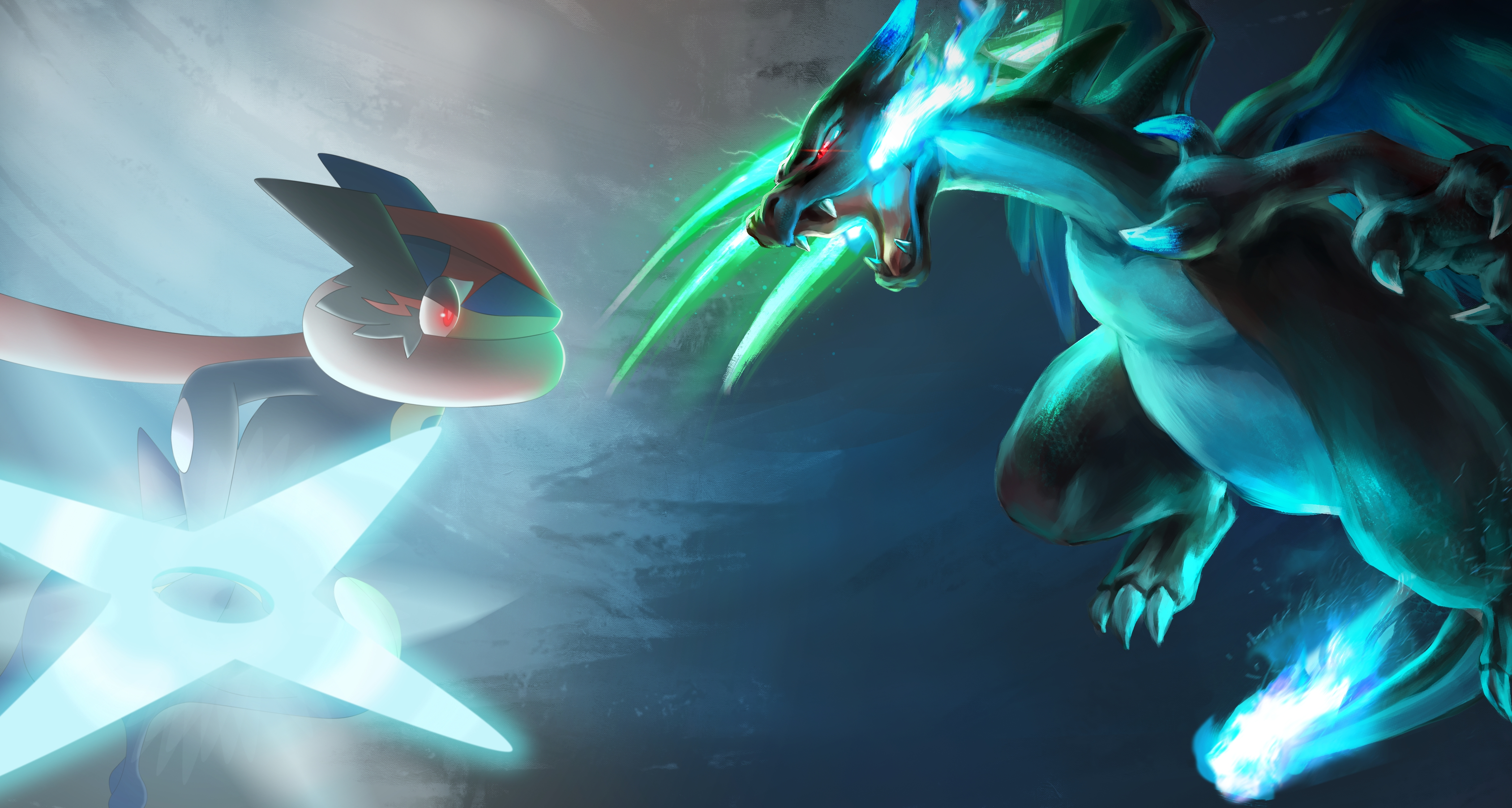 ash-greninja vs mega charizard x 4k ultra hd wallpaper and