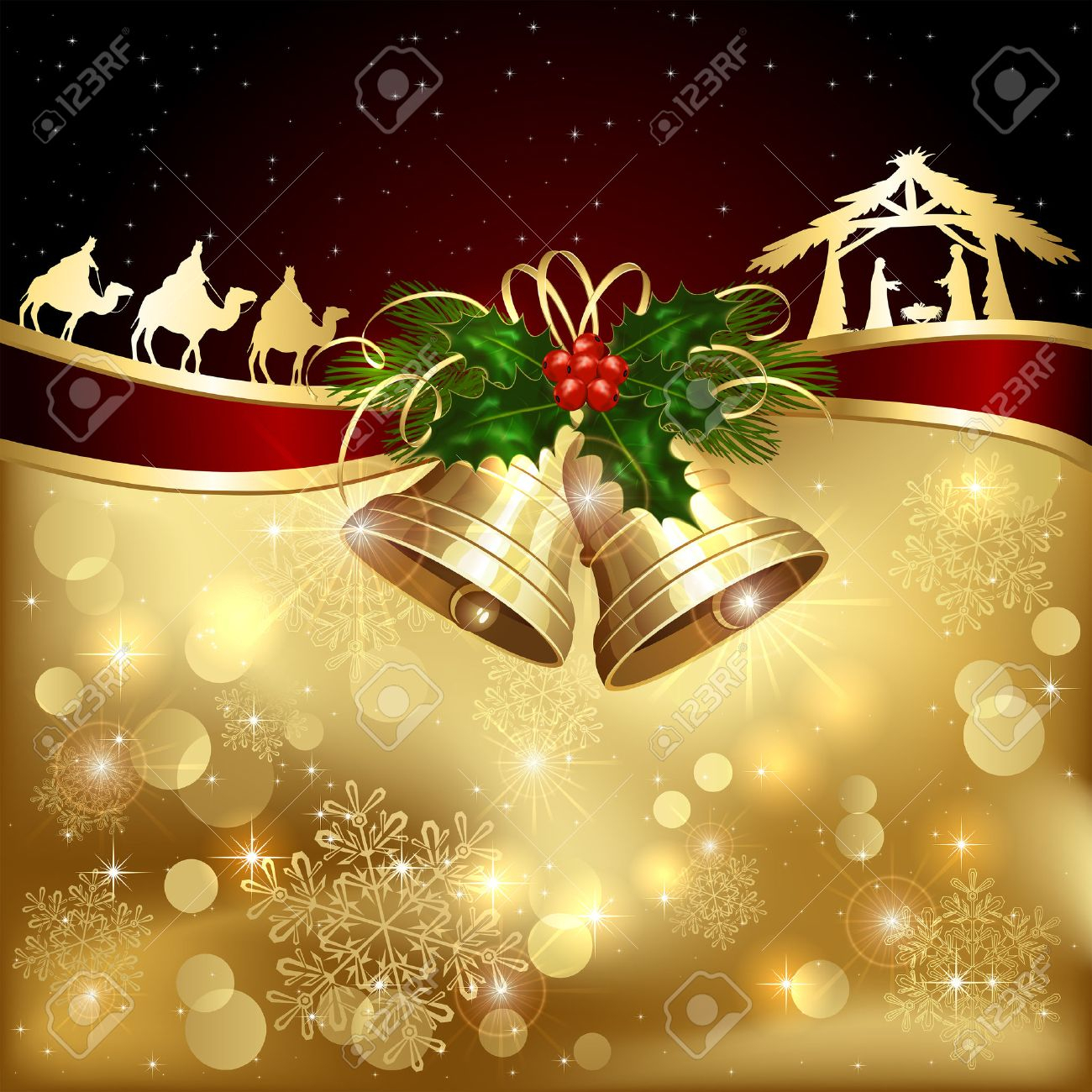 background with golden christmas bells, holly berry and christian