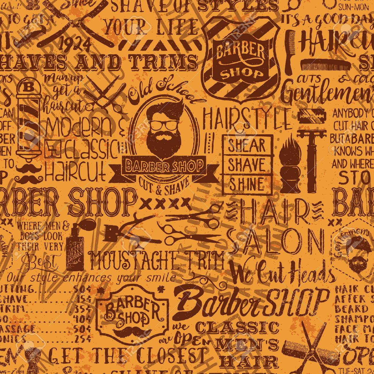 barber shop elements and icons patchwork background, vector grunge
