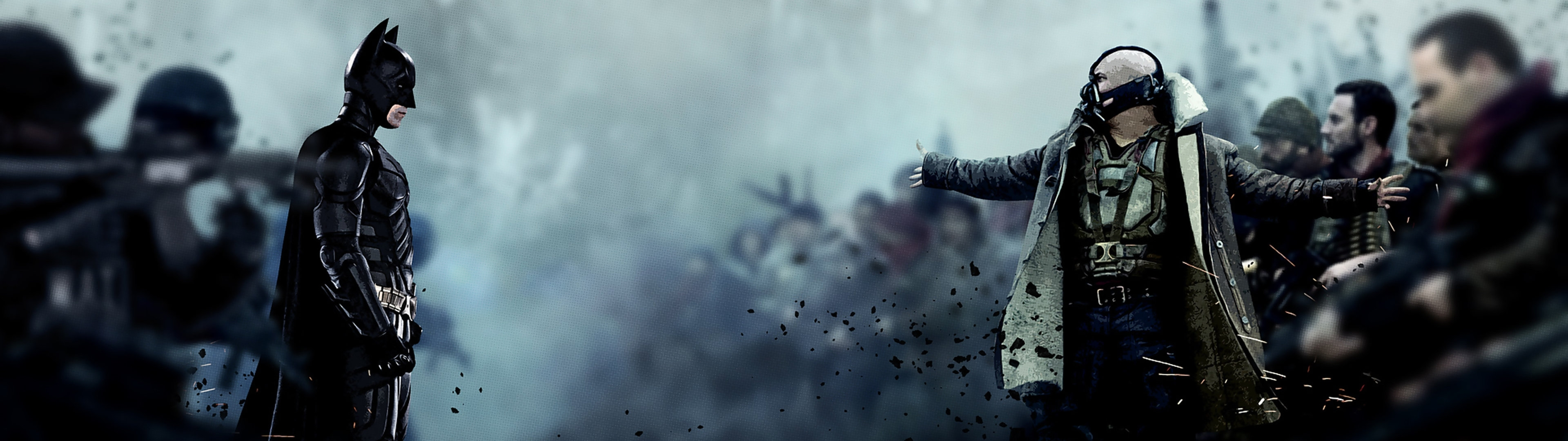 Title Batman Vs Bane Dual Screen Wallpaper