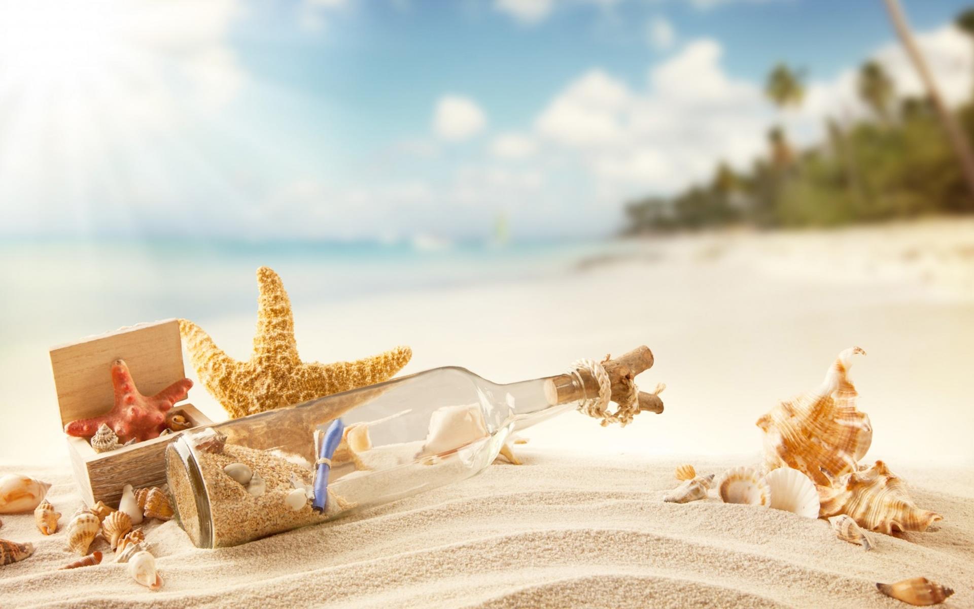 beach sea shell collection, bottle, sand widescreen wallpaper | wide