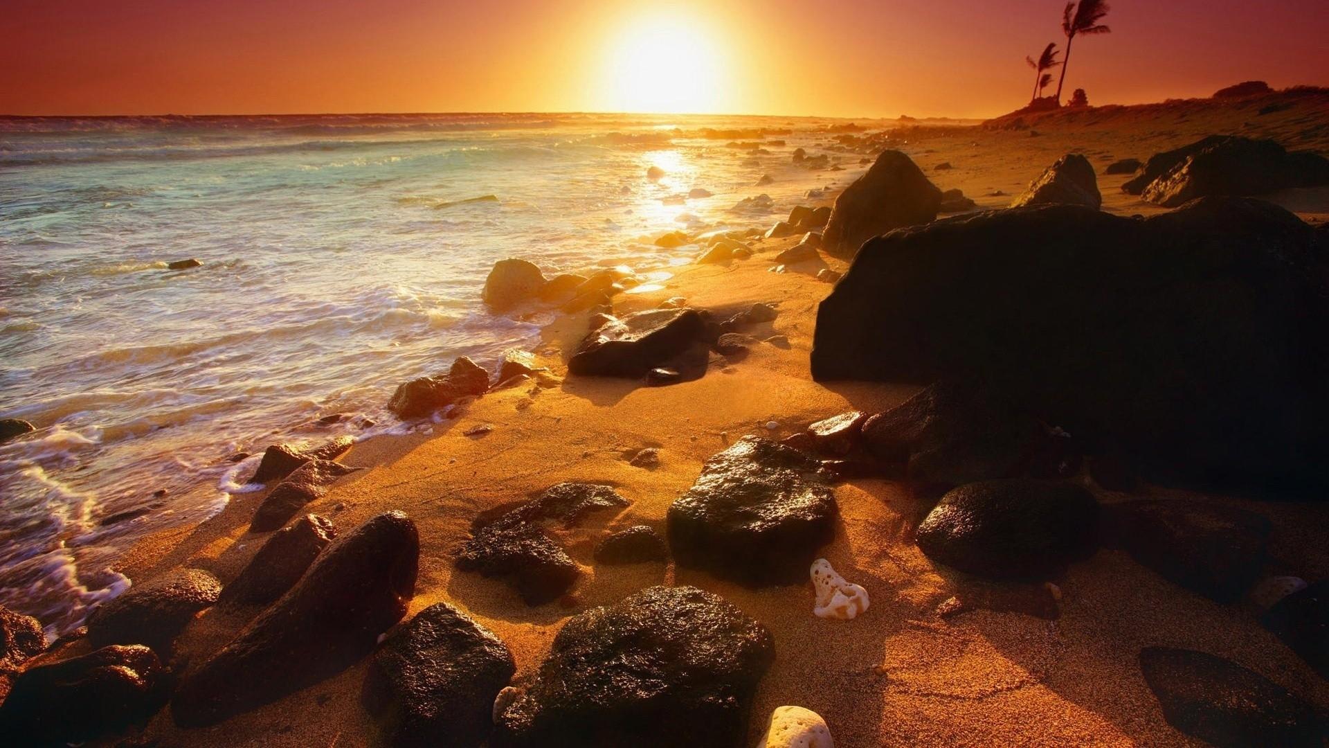beach: sunset night sea beautiful summer rocks beach hd wallpapers
