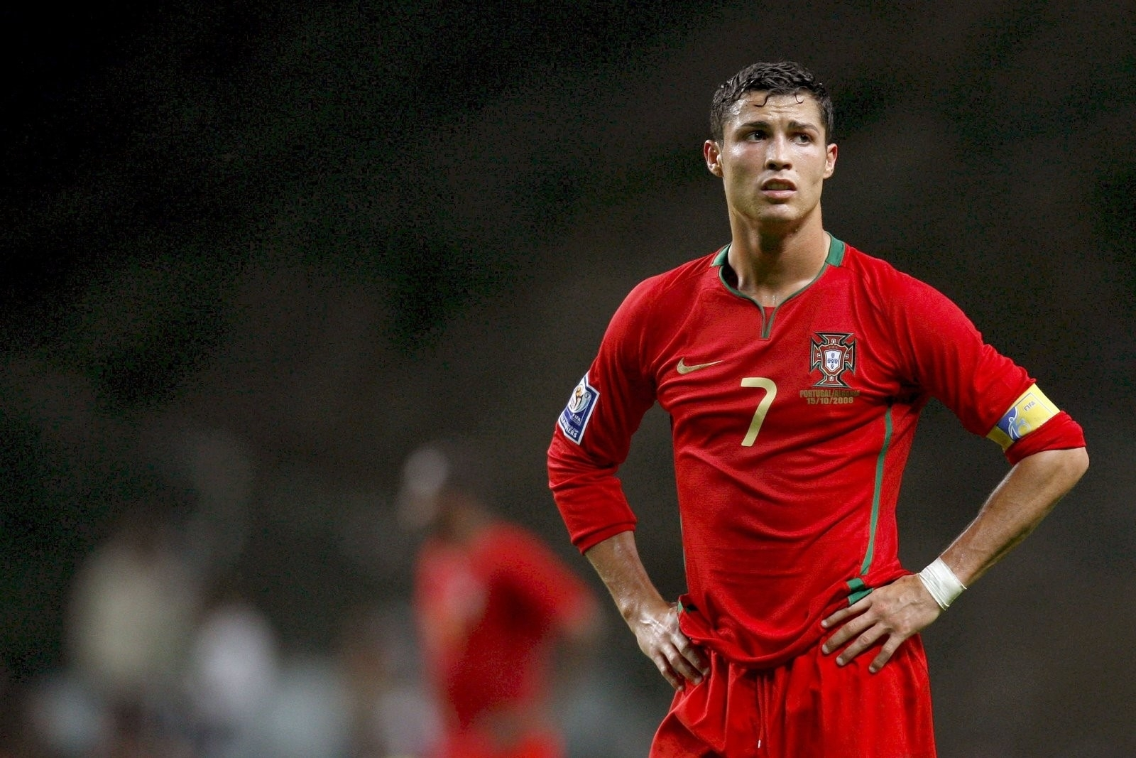 best football player cristiano ronaldo in red wallpaper | hd wallpapers