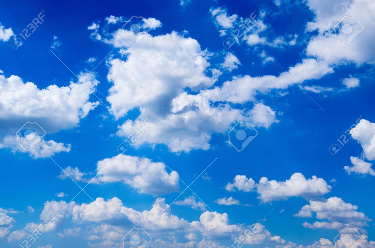 blue sky background with white clouds stock photo, picture and