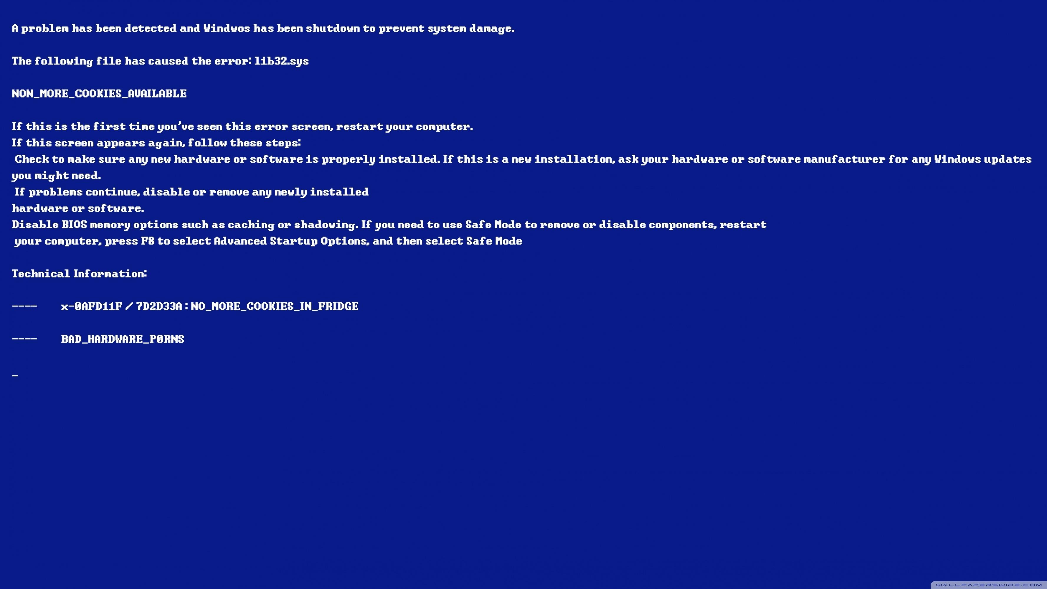 bluescreen of death ❤ 4k hd desktop wallpaper for • wide & ultra