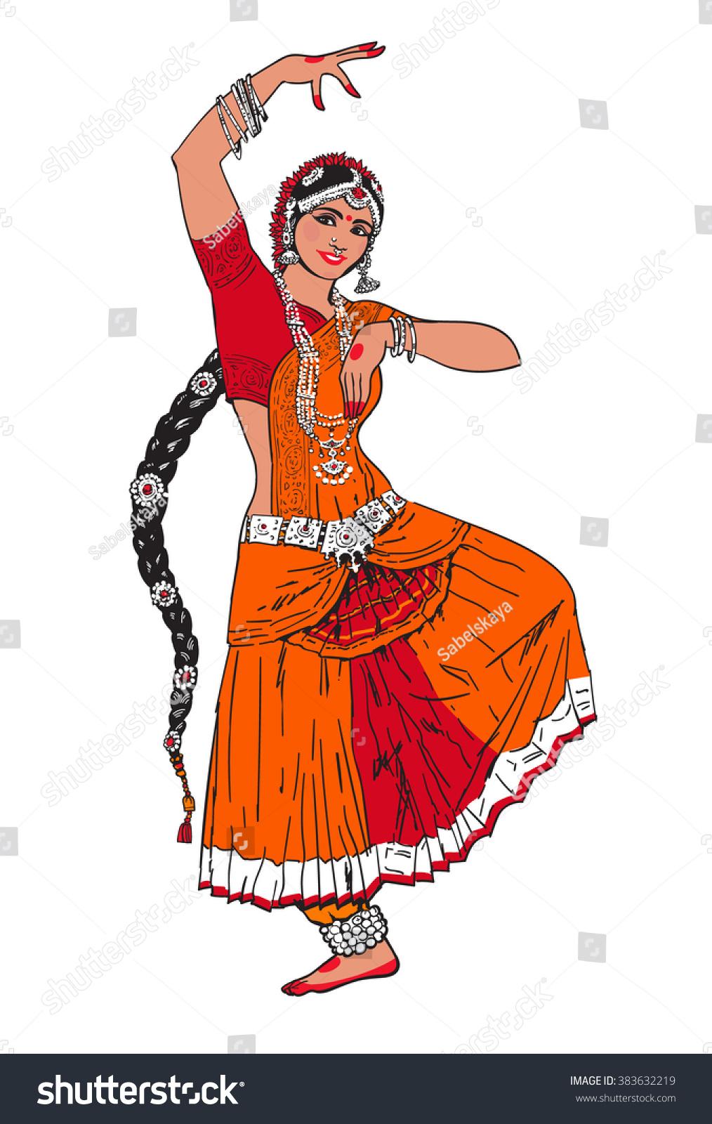 bollywood star dancing girl indian dance stock-vektorgrafik