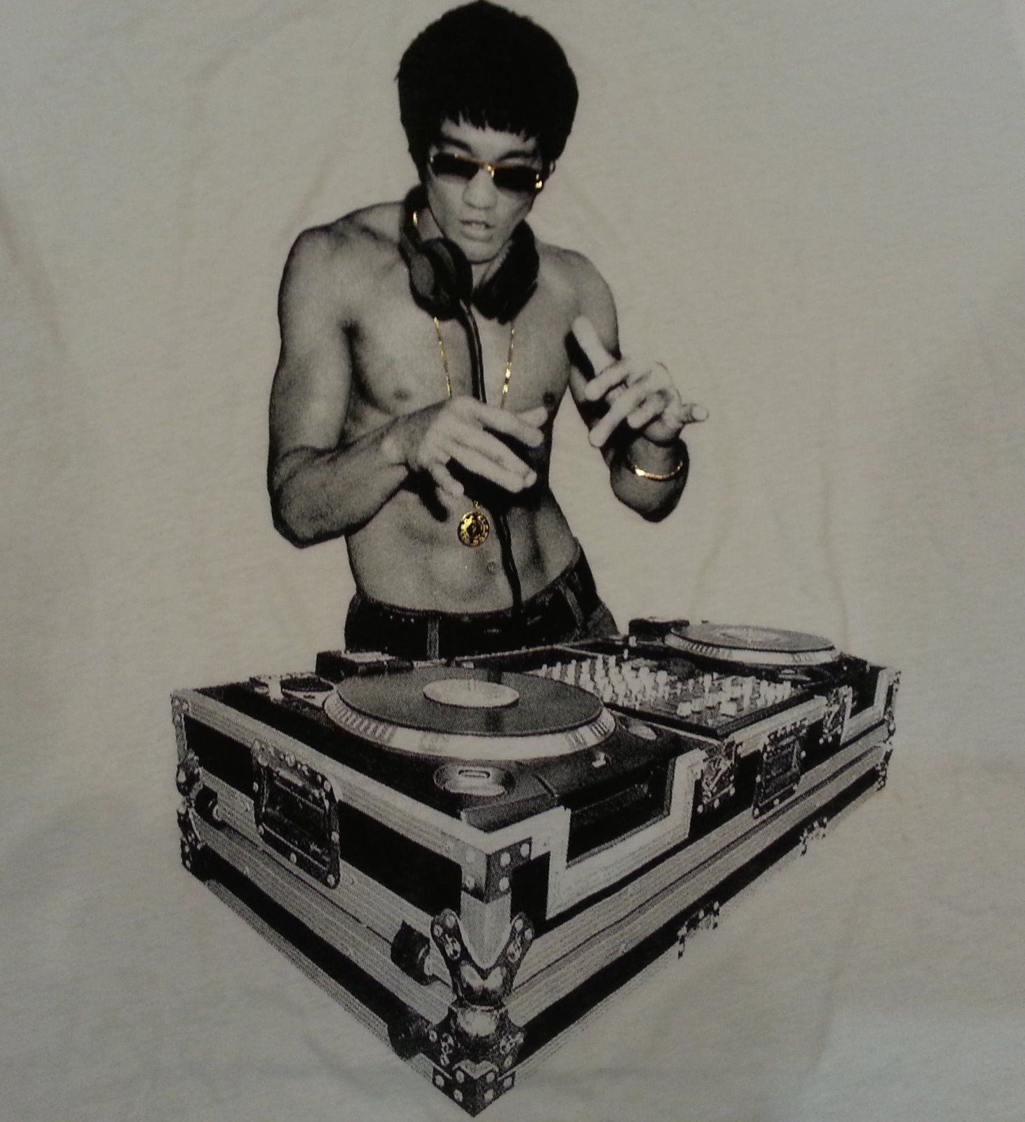 bruce lee dj white v neck t shirt rare! and 50 similar items