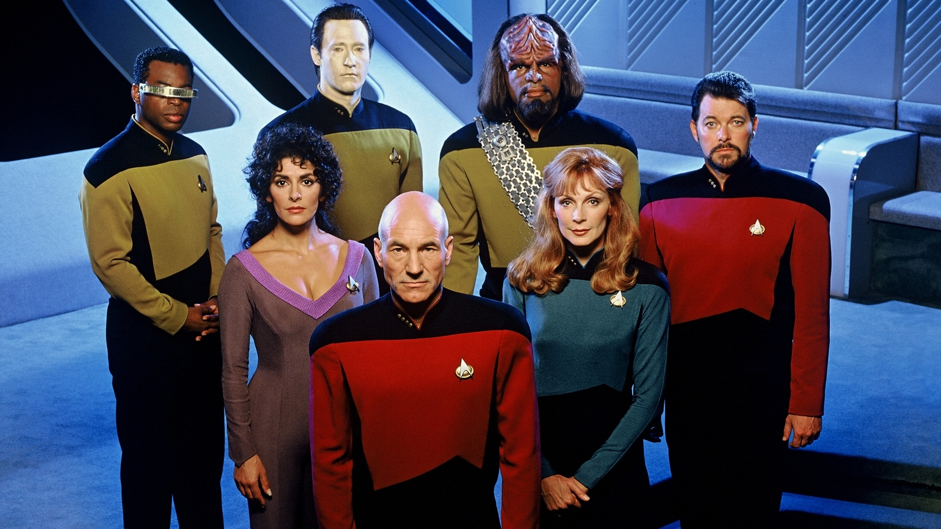 captain picard & crew tng full hd wallpaper and background image