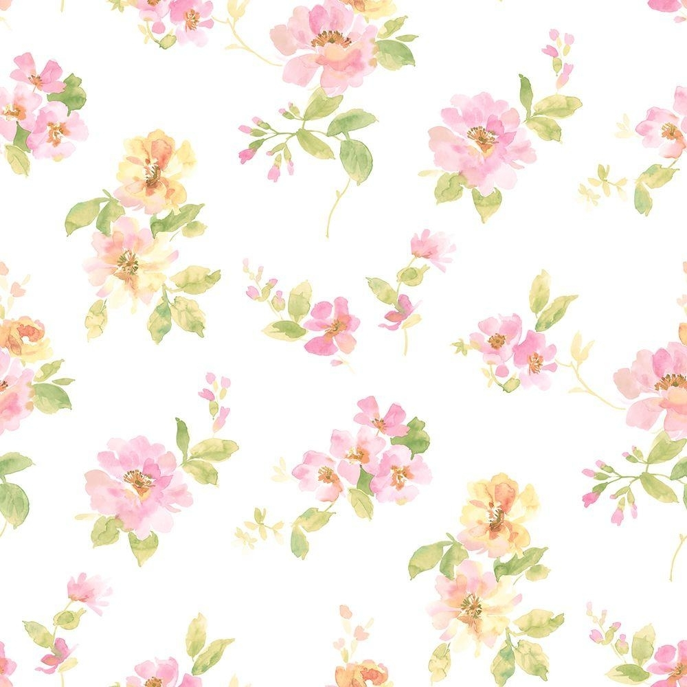 chesapeake captiva pink watercolor floral wallpaper-dlr54594 - the