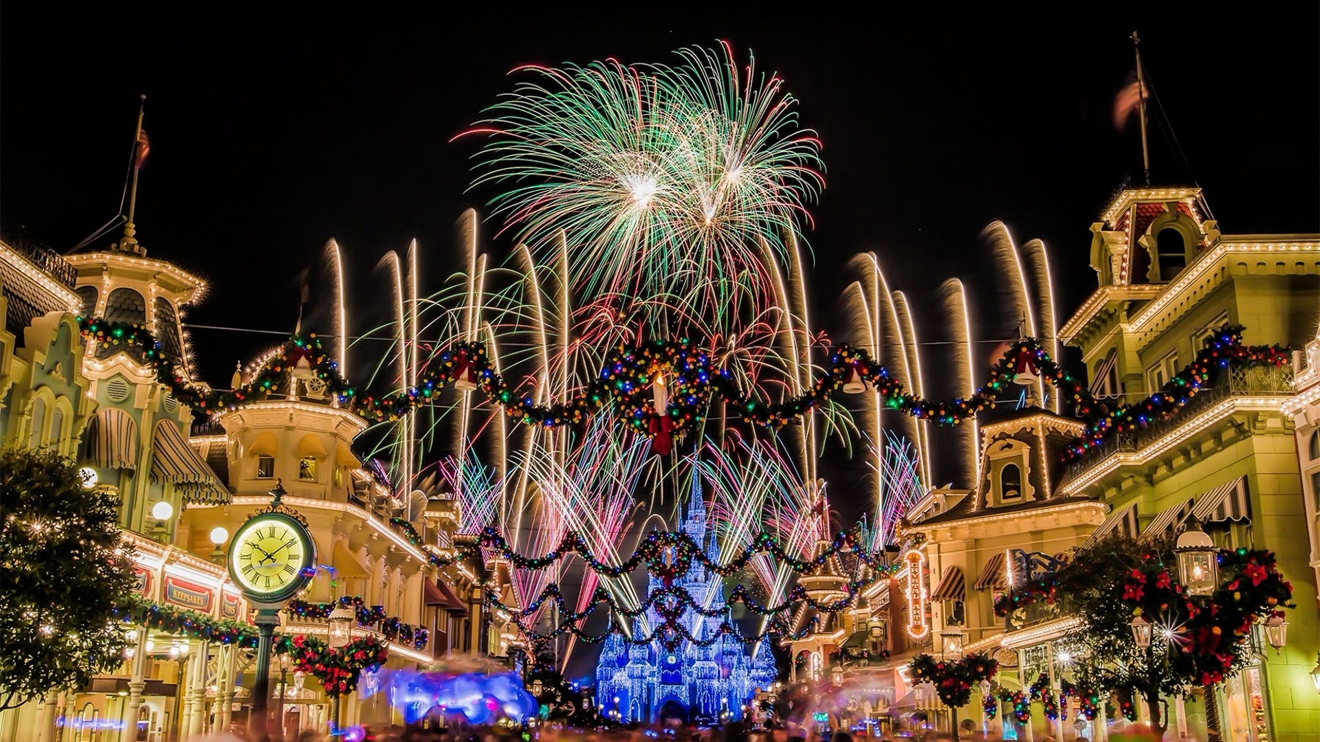 christmas castle at disney world 1920x1080 wide wallpapers - media