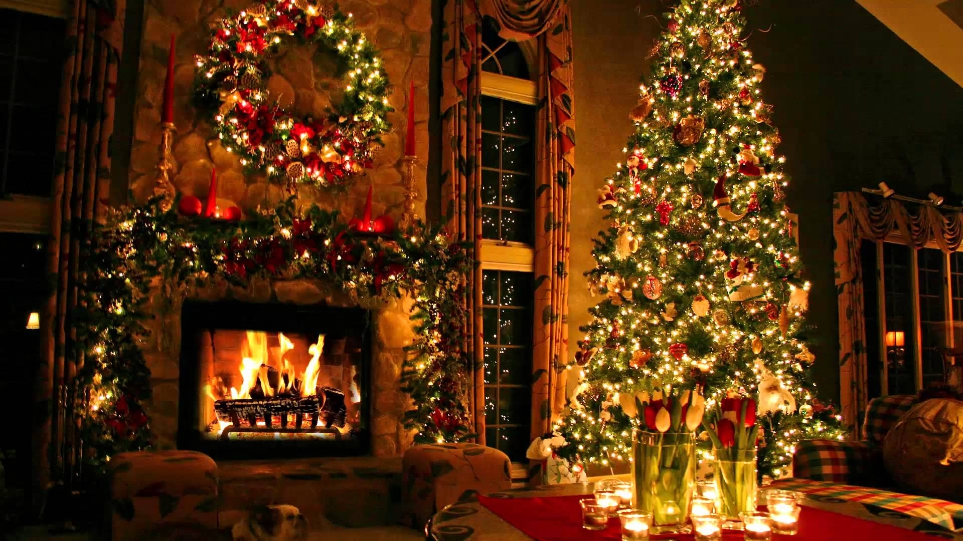 christmas tree and fireplace - youtube