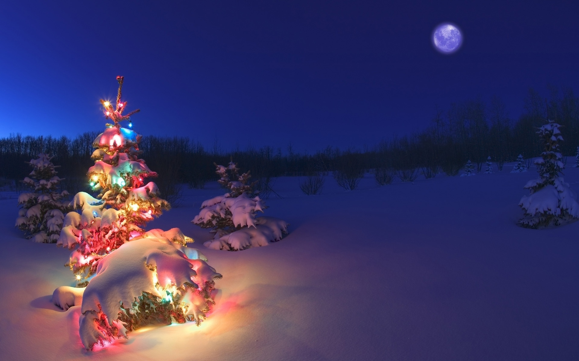 christmas-tree-lights-snow-wallpaper-hd - wallpaper.wiki