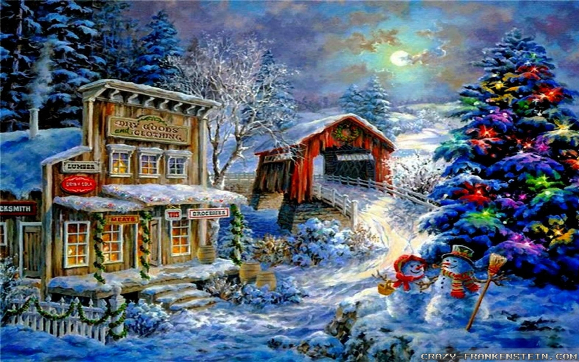 christmas winter scenes wallpaper gallery (54+ images)