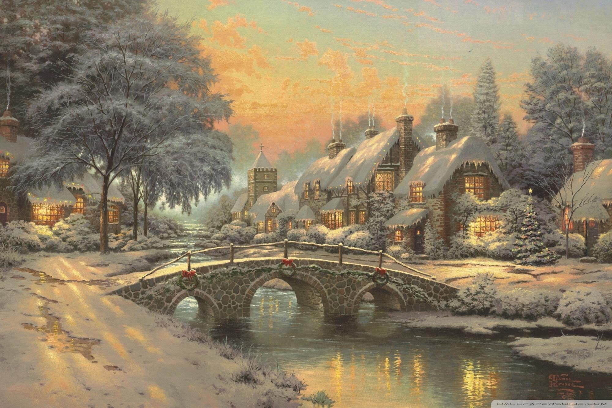 classic christmas paintingthomas kinkade ❤ 4k hd desktop