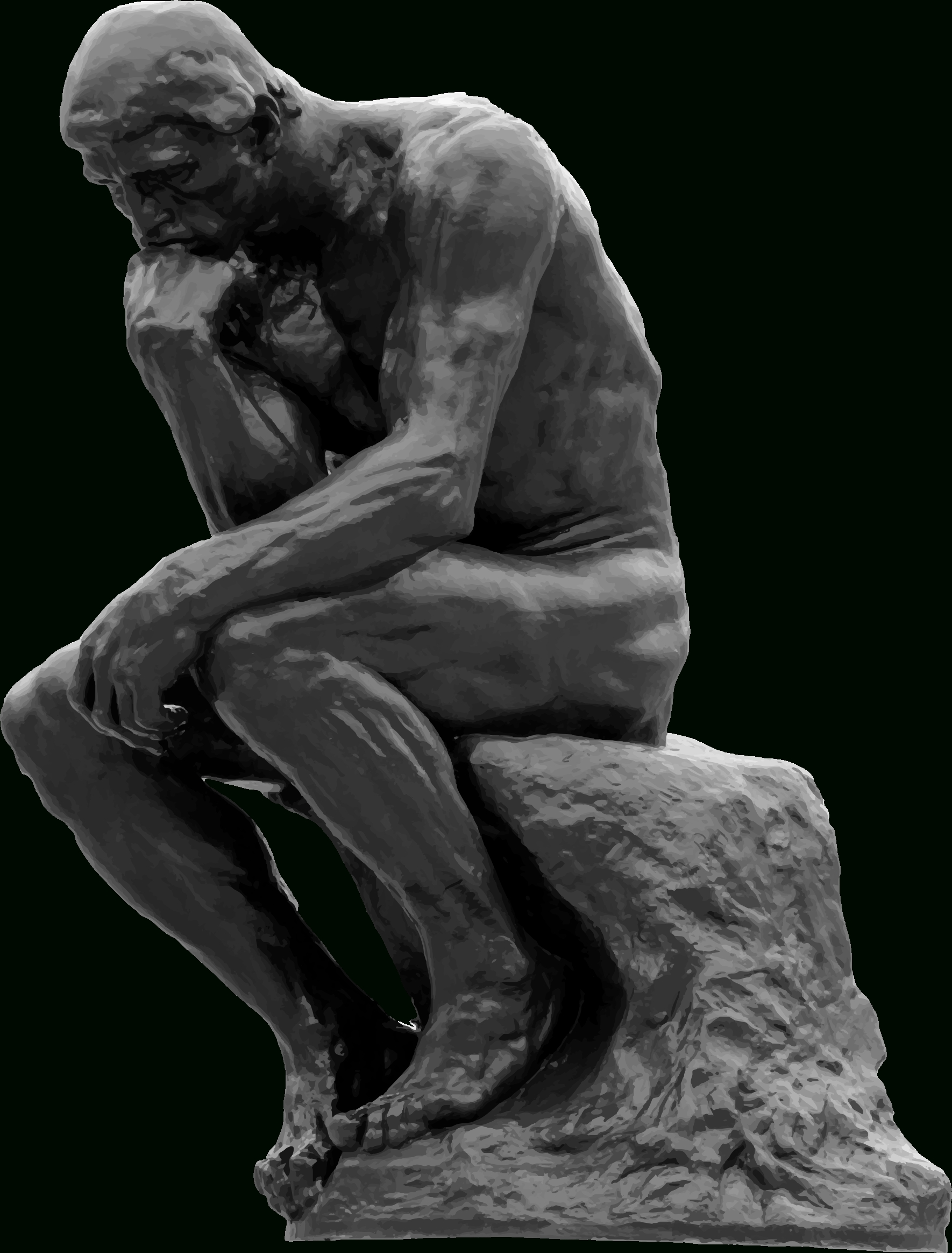 clipart - the thinker grayscale