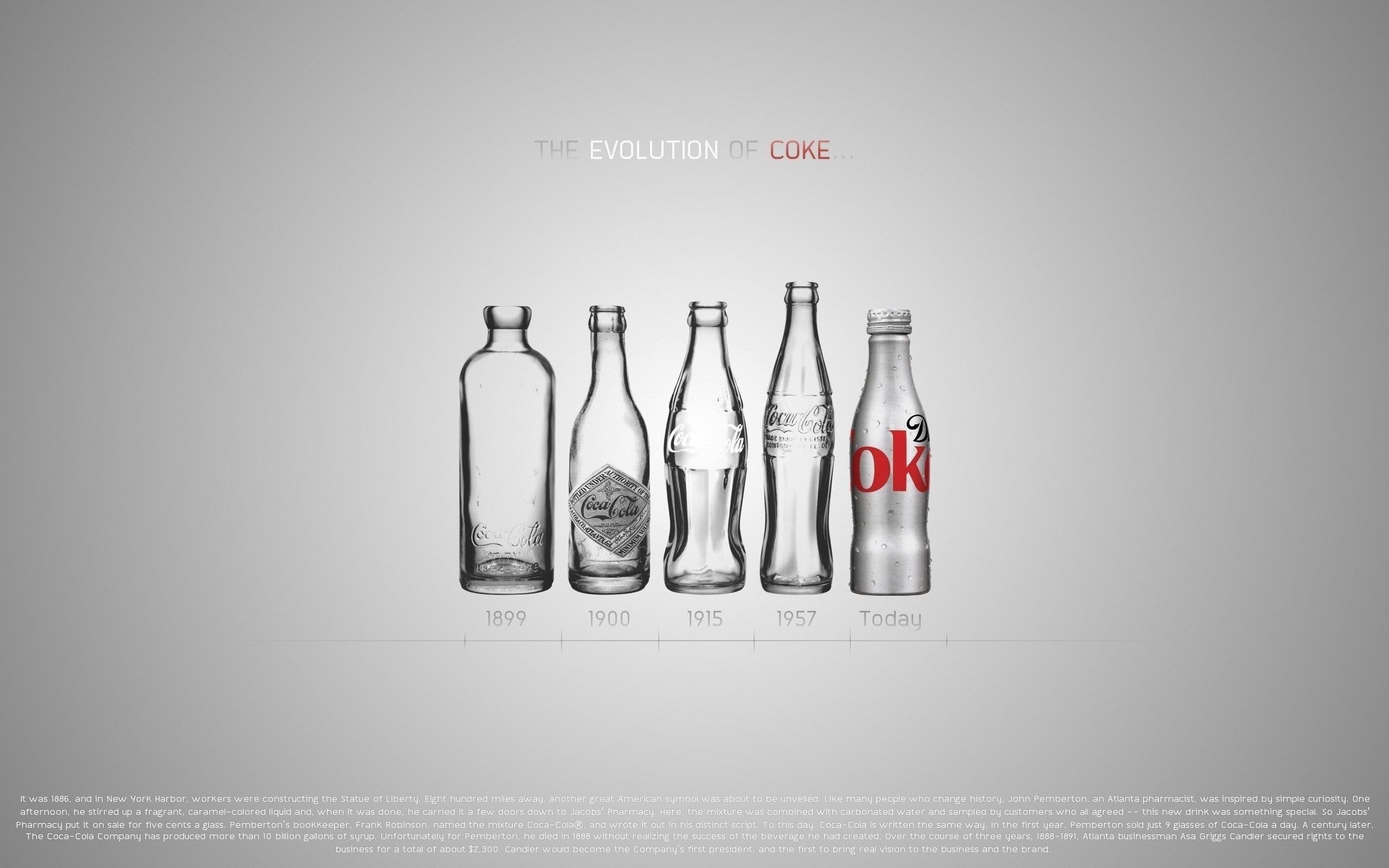 coca cola coke bottles evolution desktop wallpaper