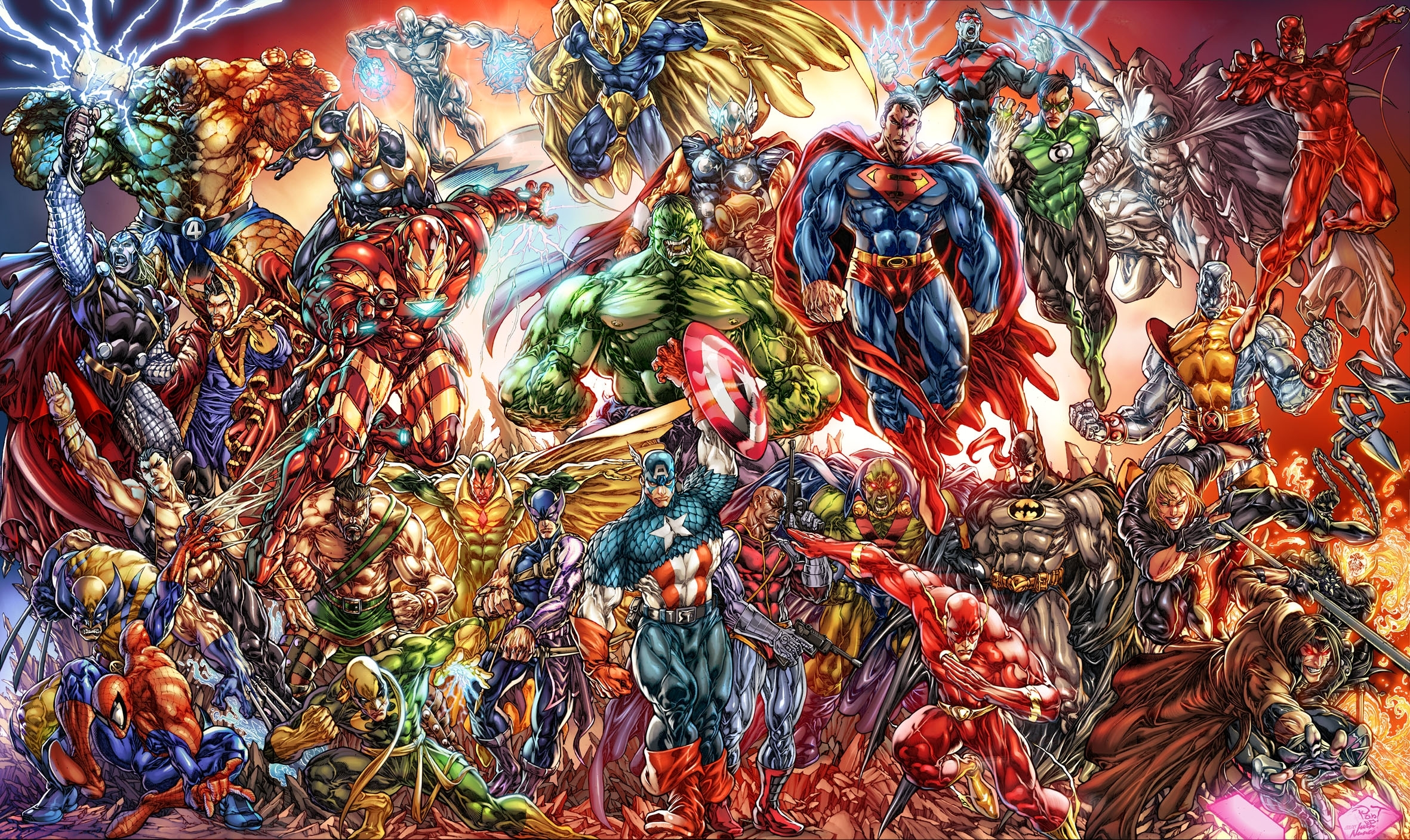 collage of marvel and dc characters full hd wallpaper and background
