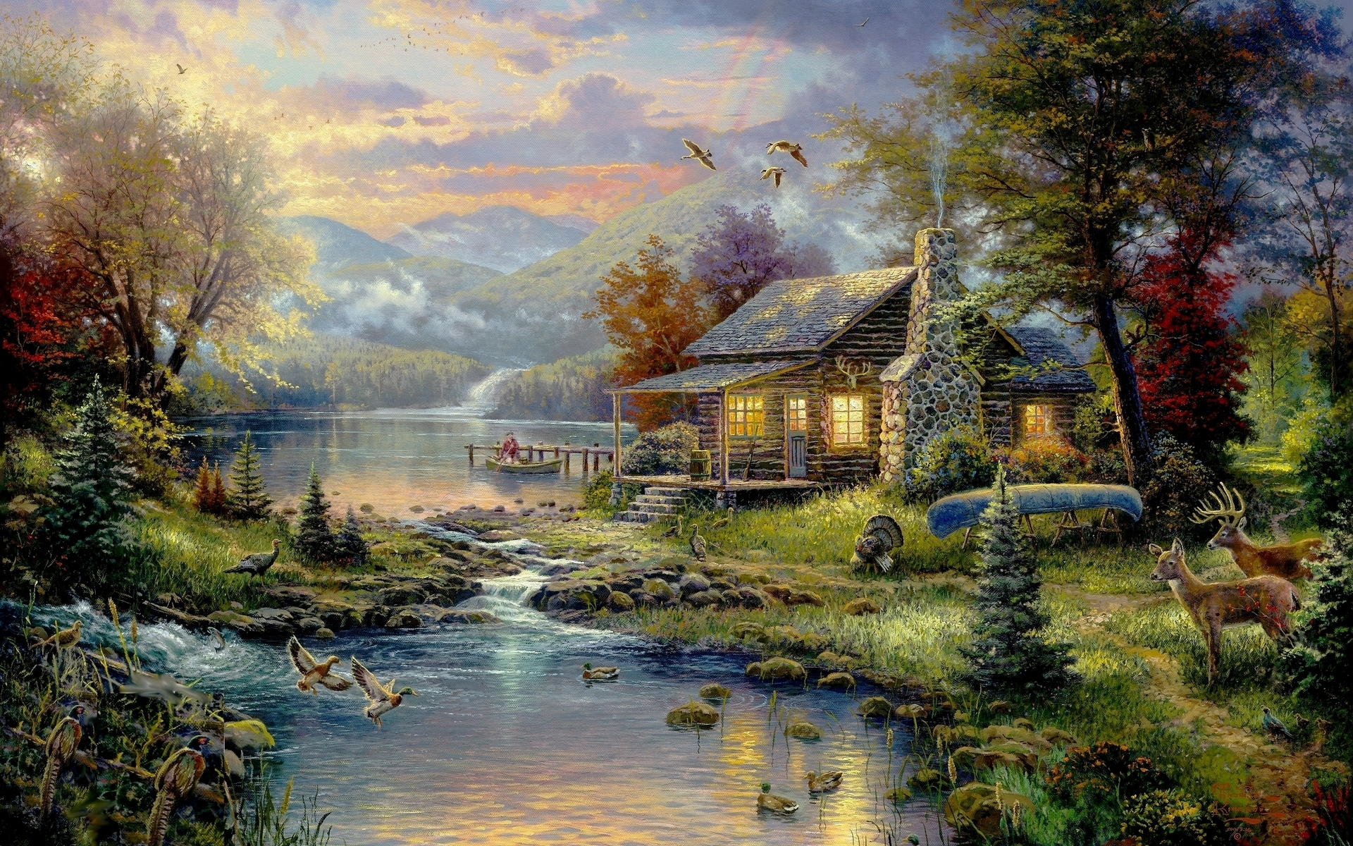 country | country house wallpaper, art, paintings | hd desktop