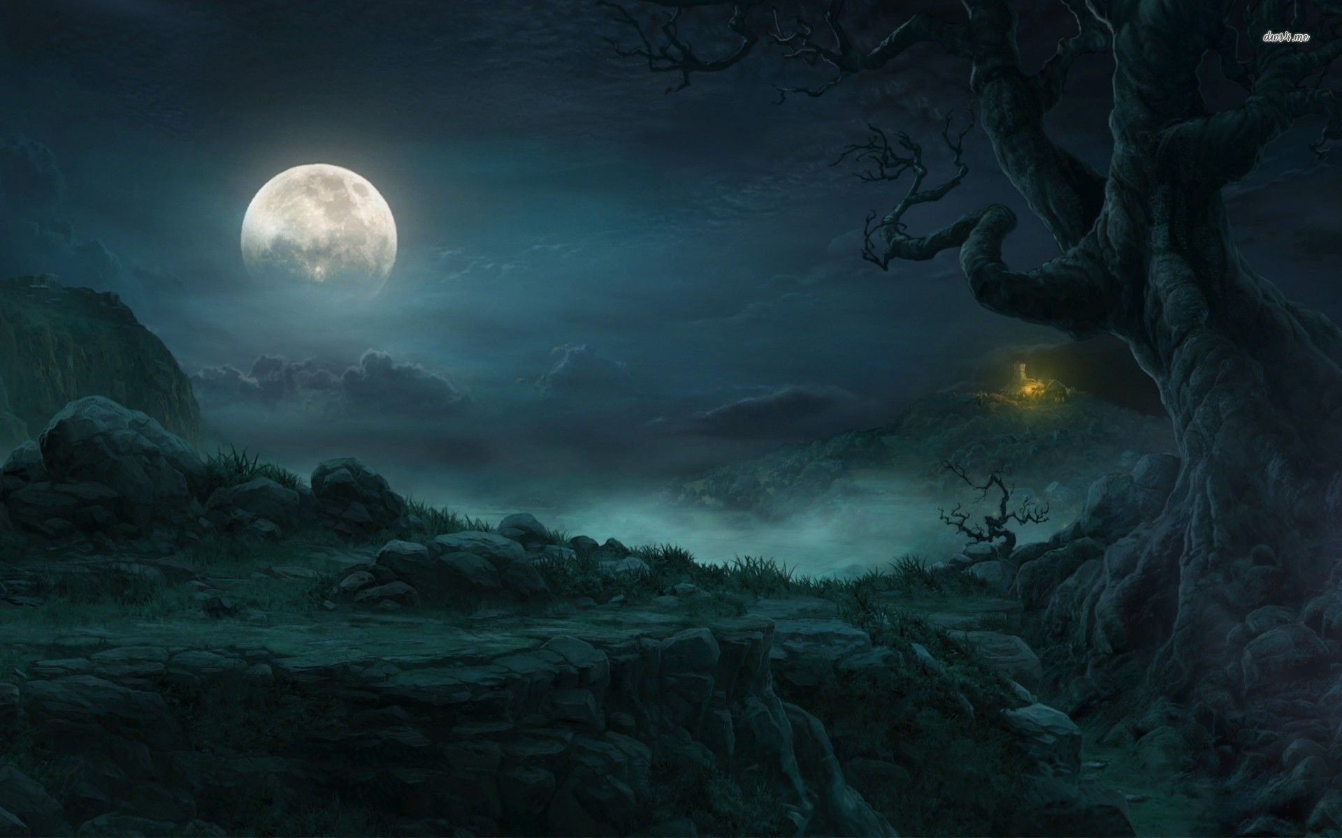 dark fantasy forest | full moon in the forest fantasy wallpaper