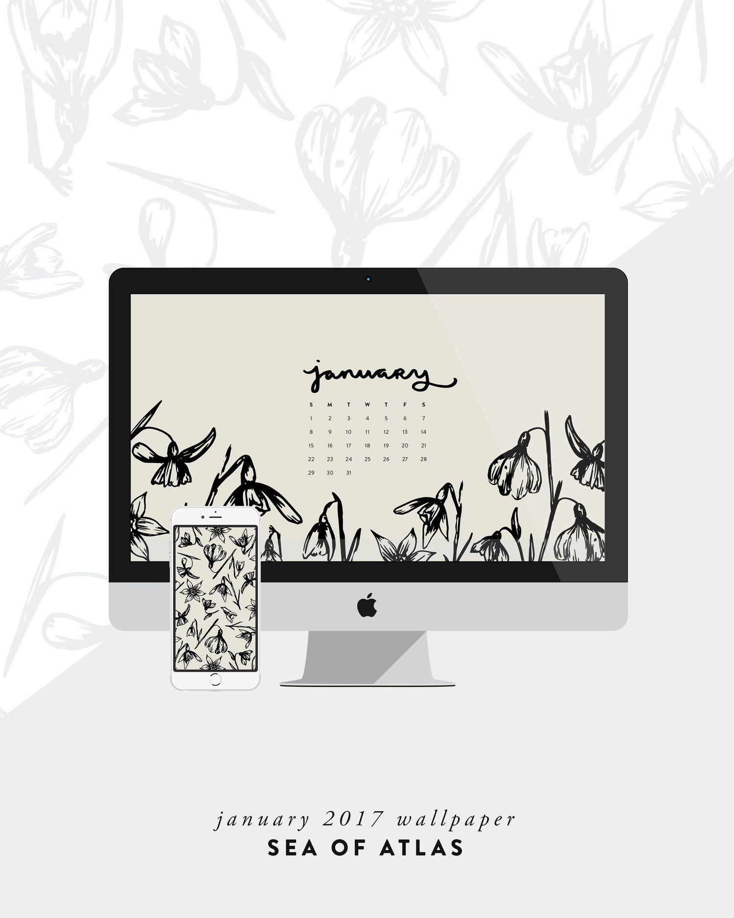desktop wallpaper: january 2017 calendar   sea of atlas   phone