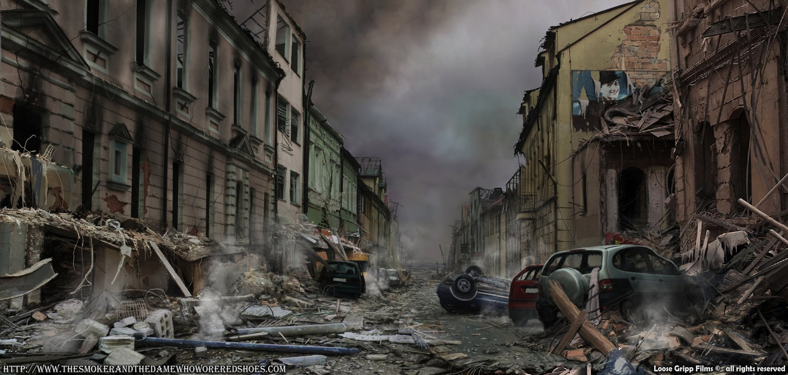 destroyed city street background 538 | background check all