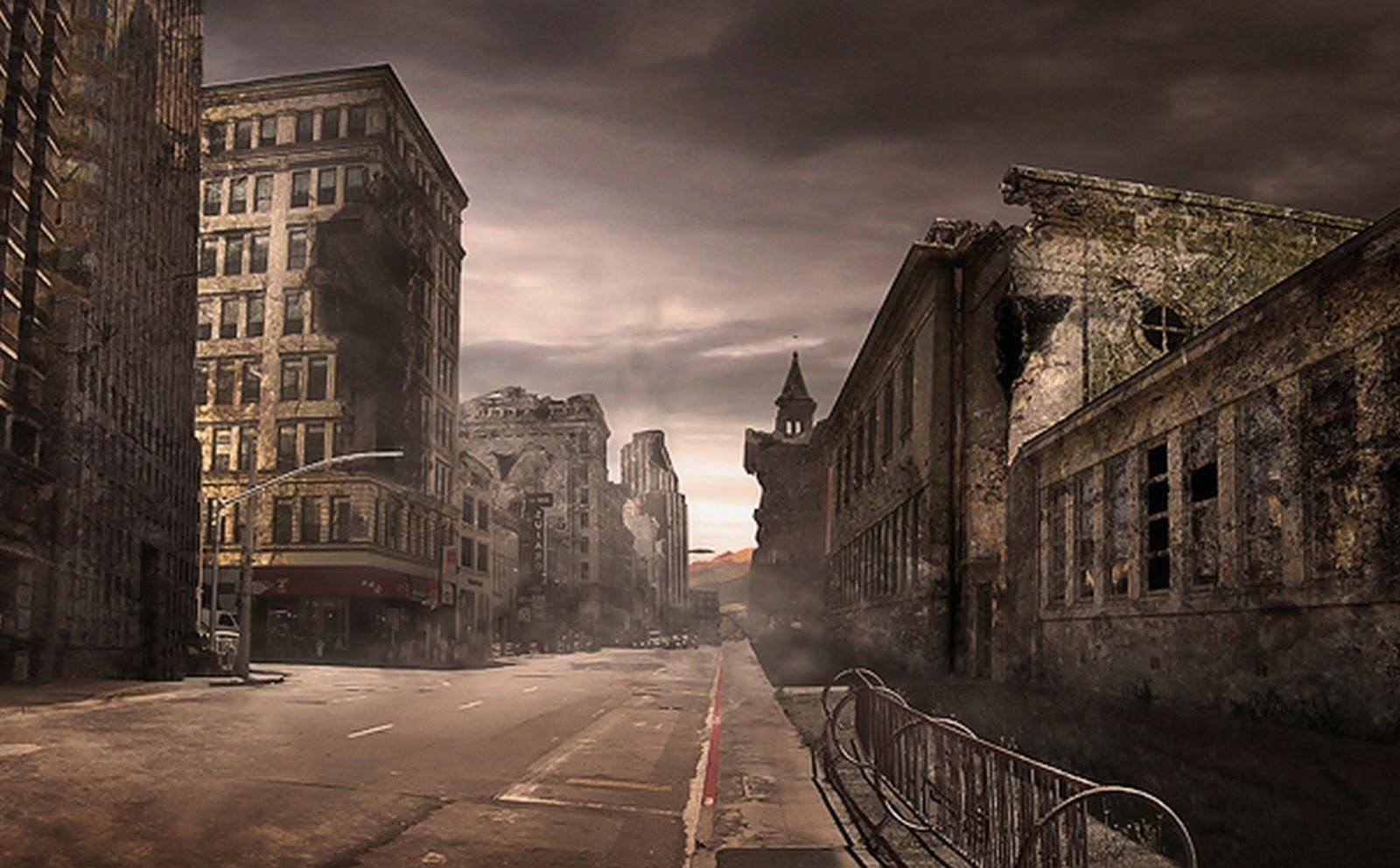 destroyed city street background 541 | background check all