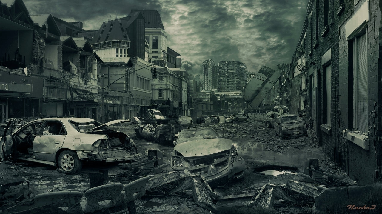 destroyed city street background 546 | background check all