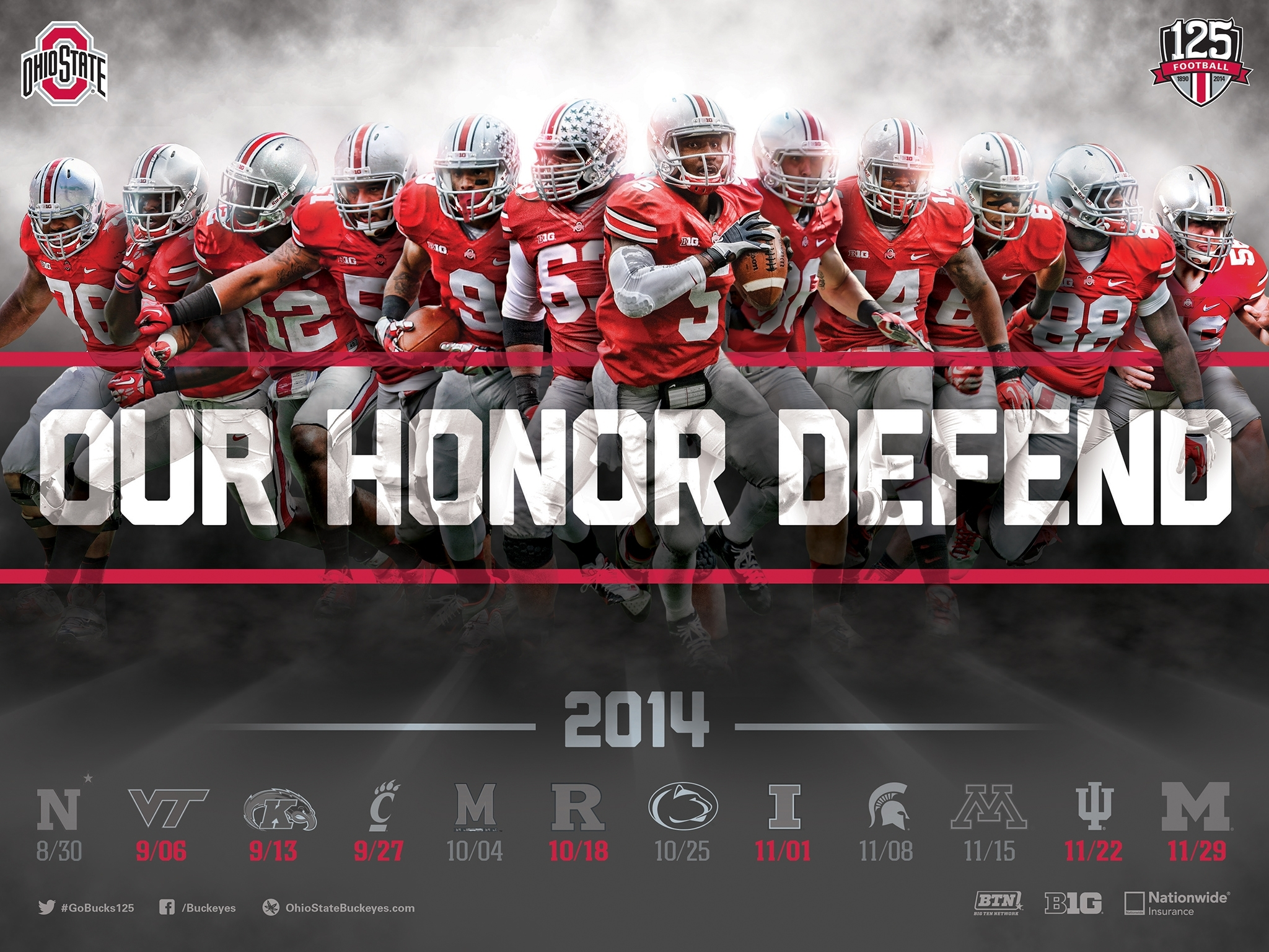 download the ohio state football 2014 schedule poster for printing