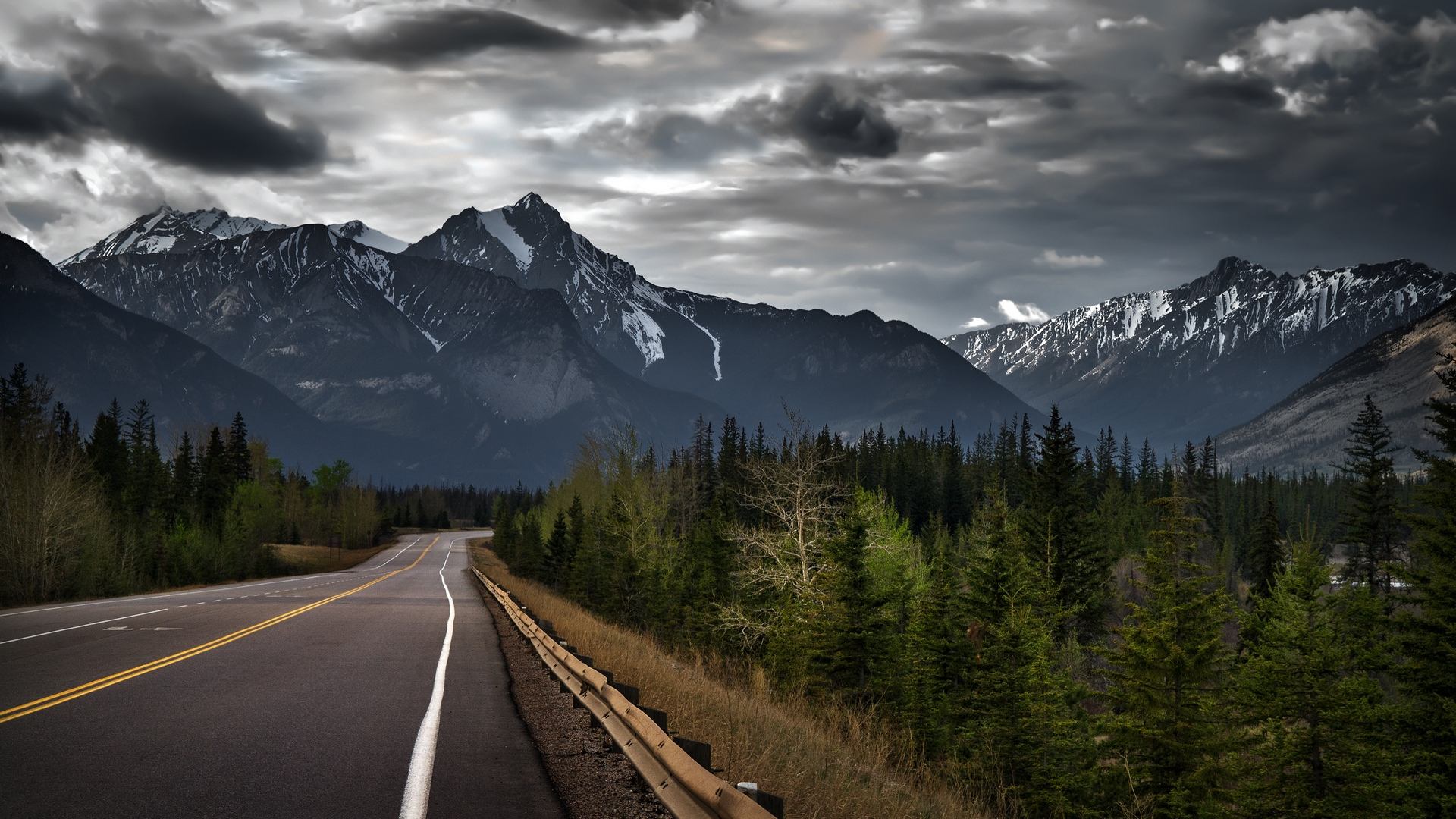 download wallpaper 1920x1080 canada, mountain, road, markings full