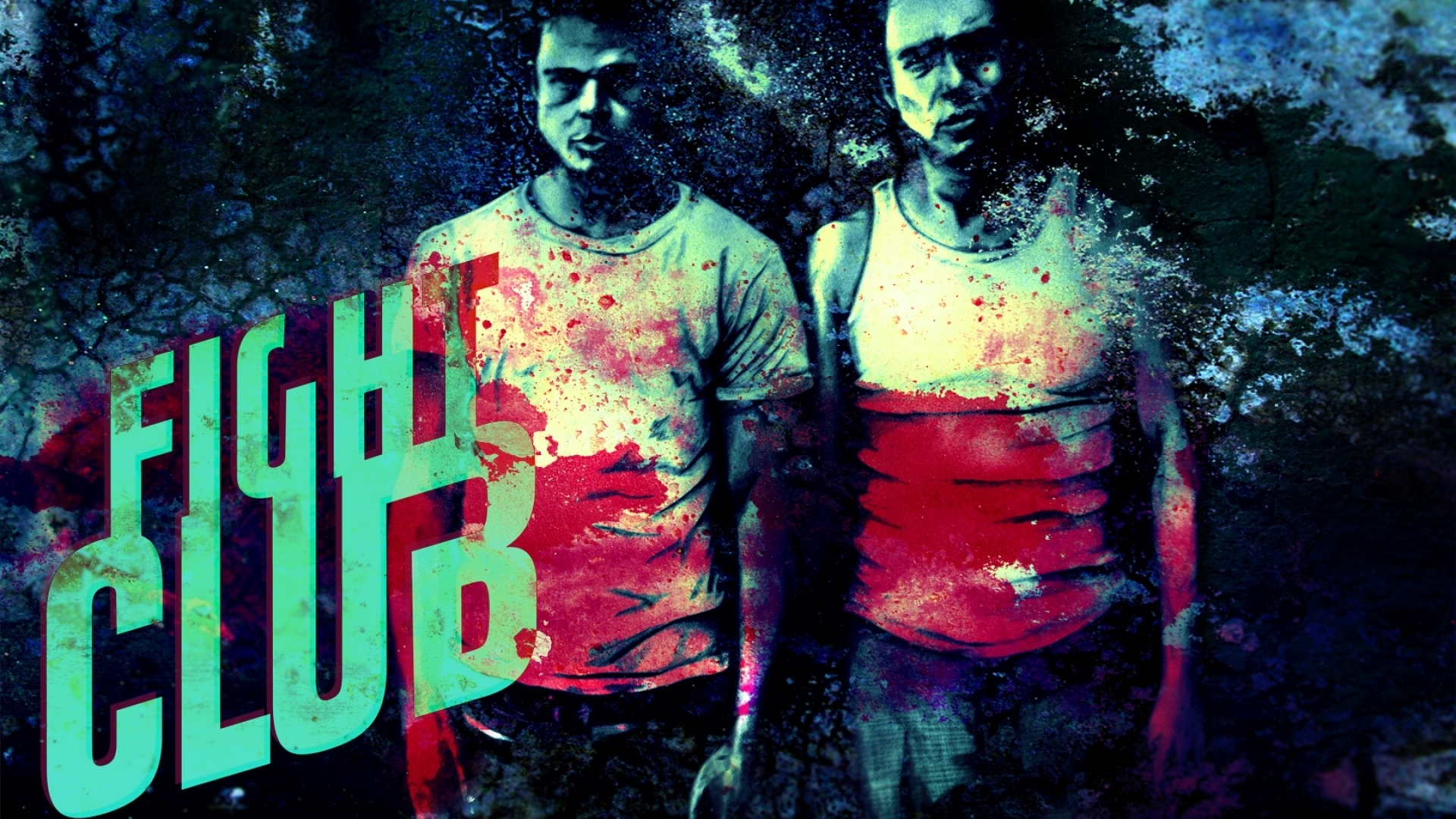 download wallpaper 1920x1080 fight club, man, fighter, blood, title