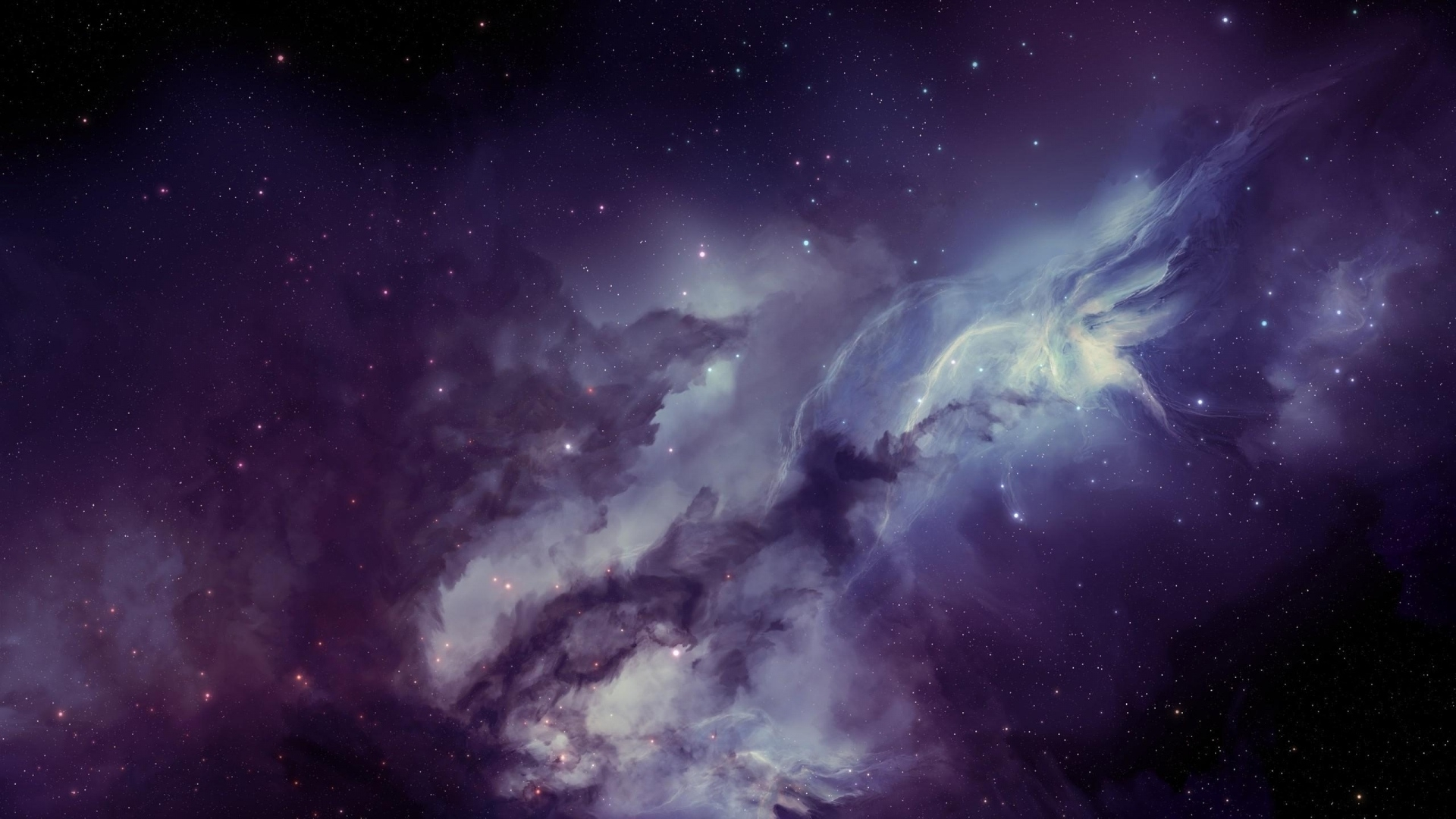 download wallpaper 1920x1080 galaxy, nebula, blurring, stars full