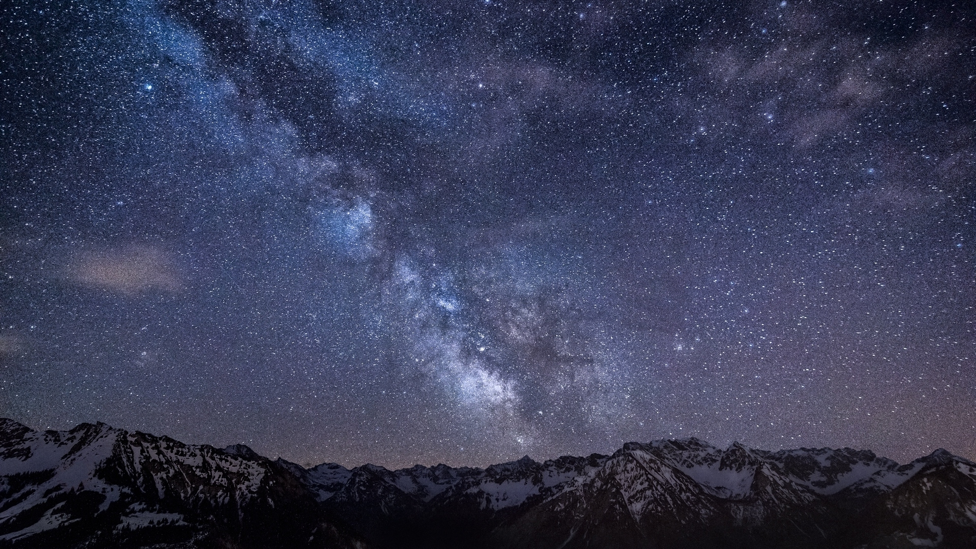 download wallpaper 1920x1080 milky way, stars, mountains, night