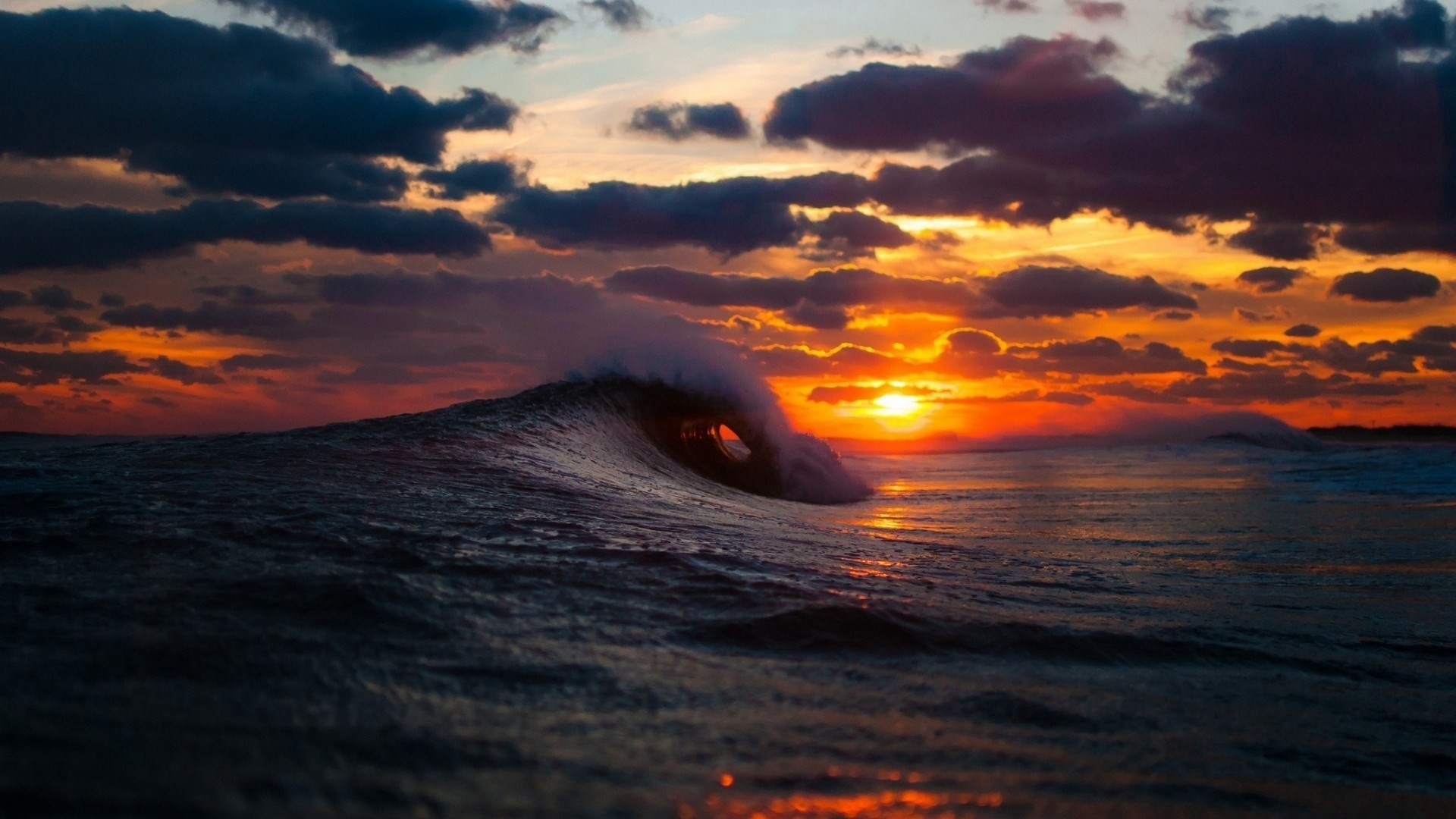 download wallpaper 1920x1080 sea, surf, wave, sunset hd background
