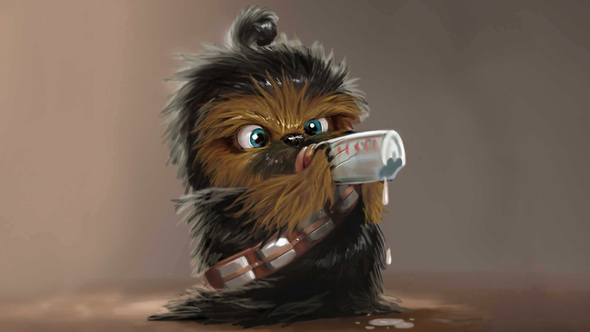 download wallpaper 1920x1080 star wars, chewbacca, drink, baby hd