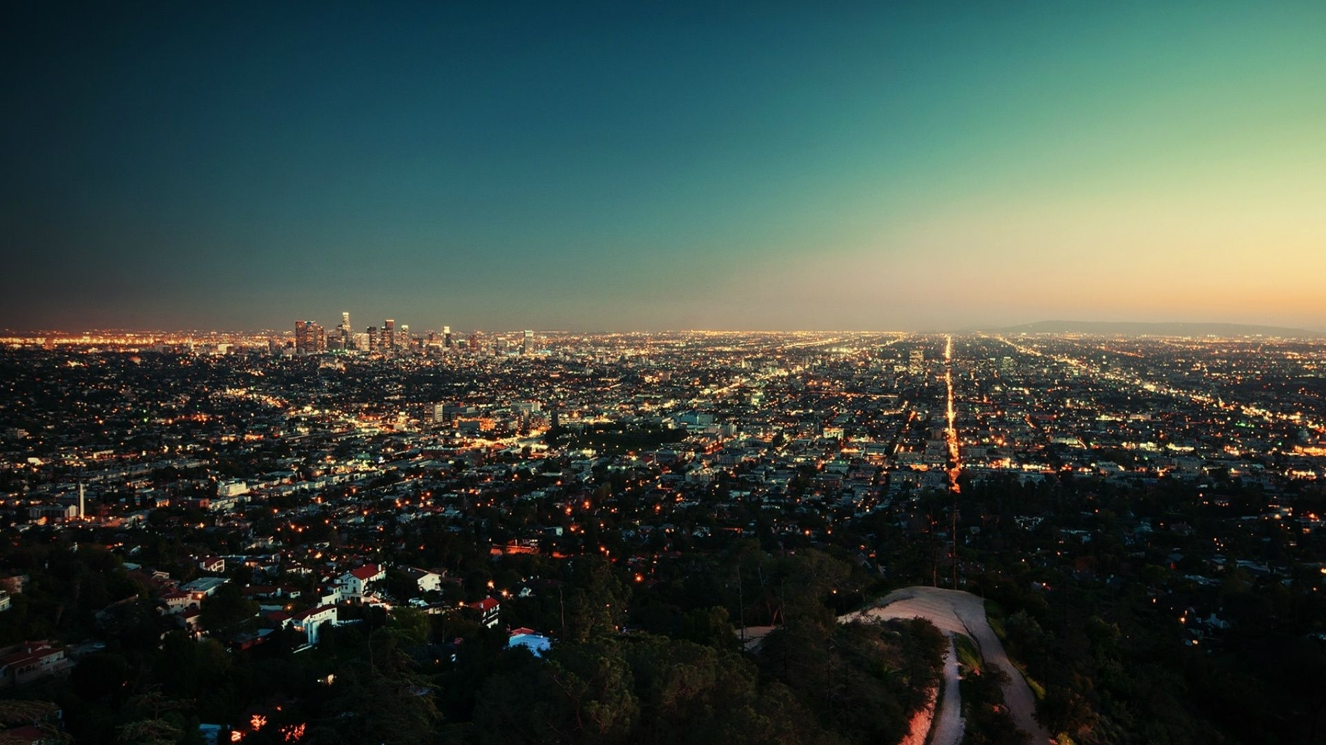 download wallpaper 1920x1080 sunset, usa, los angeles, building, top