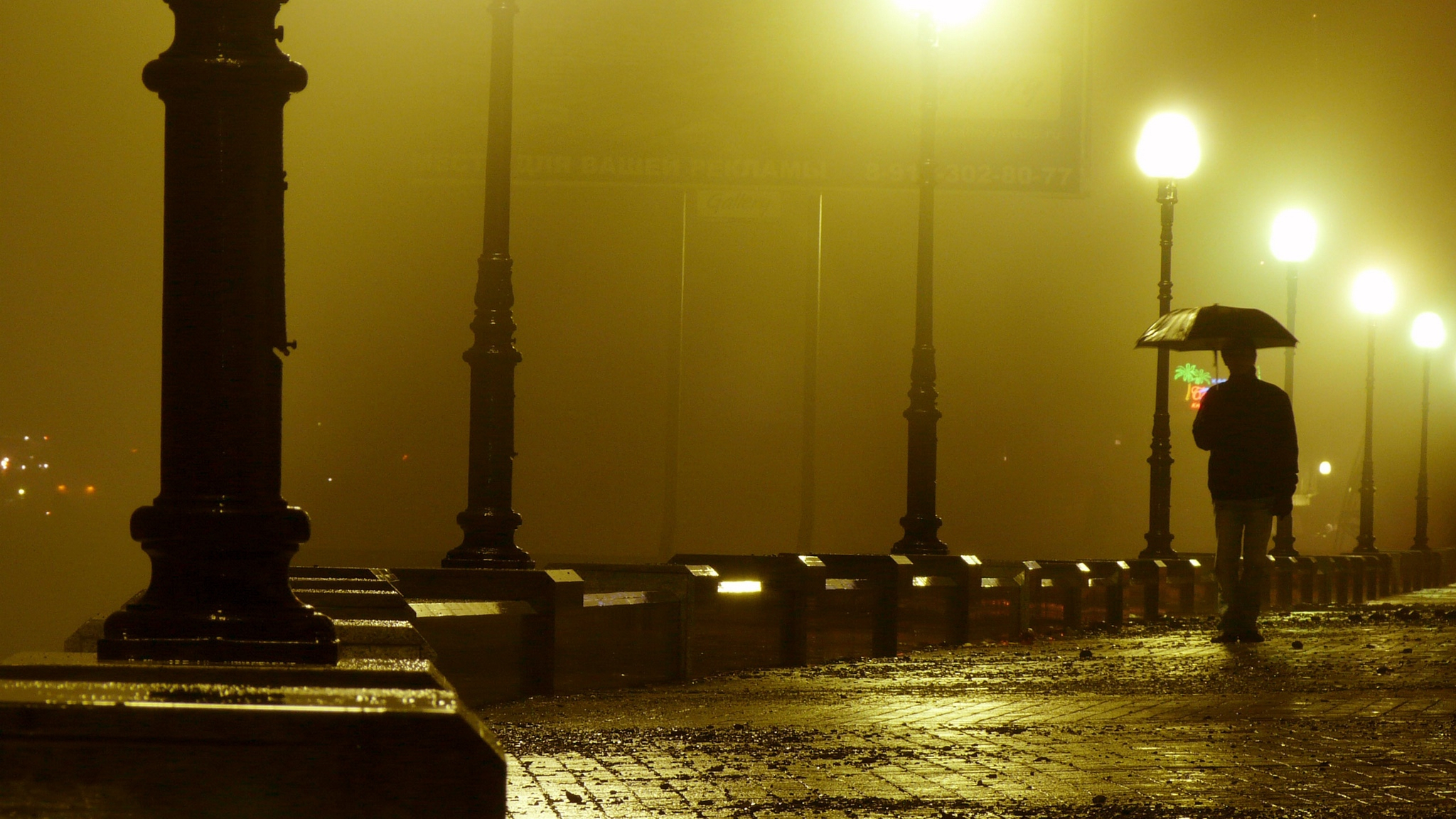 download wallpaper 2048x1152 road, bridge, rain, night ultrawide
