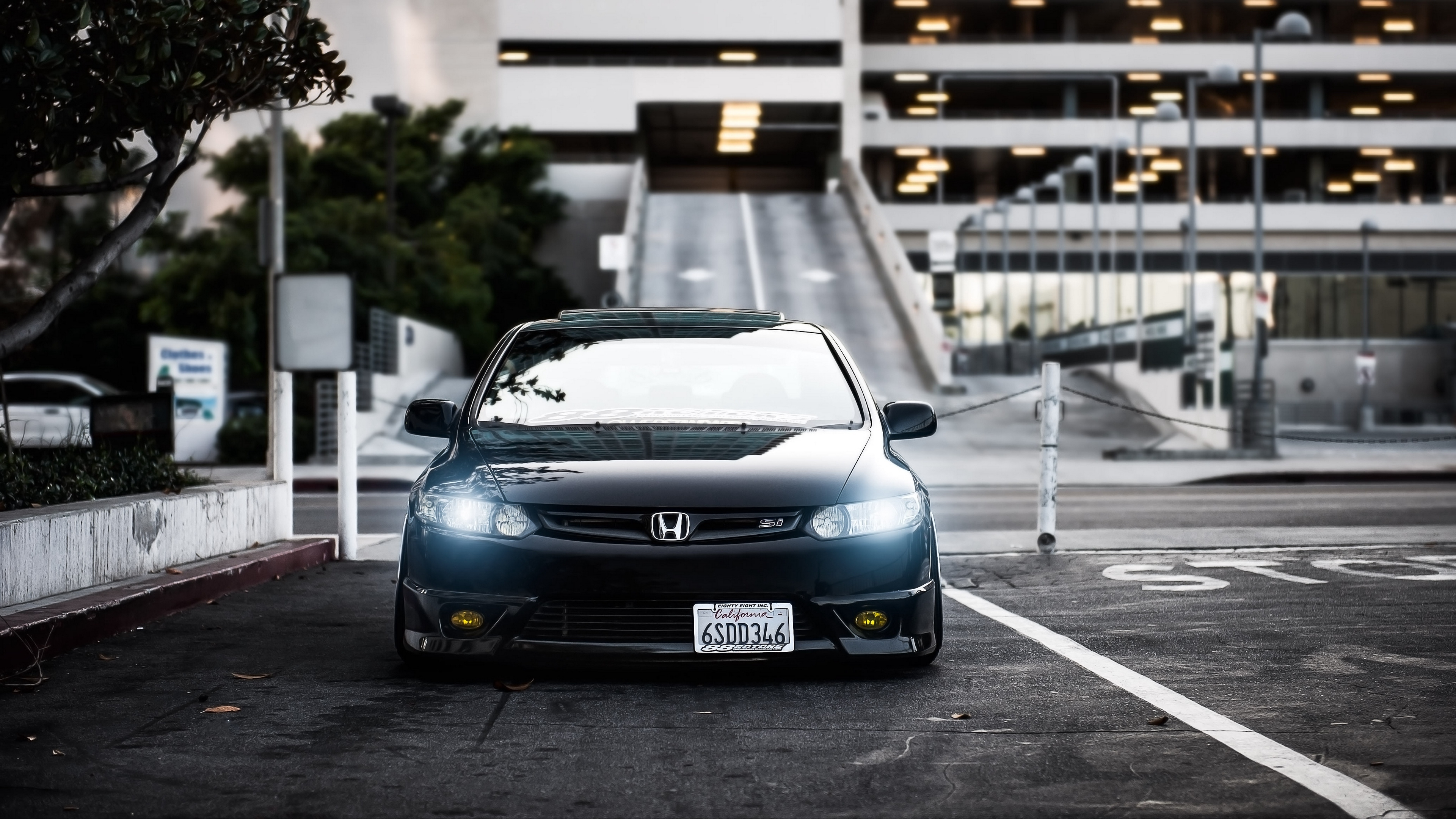 download wallpaper 3840x2160 honda, civic, si, black, front view