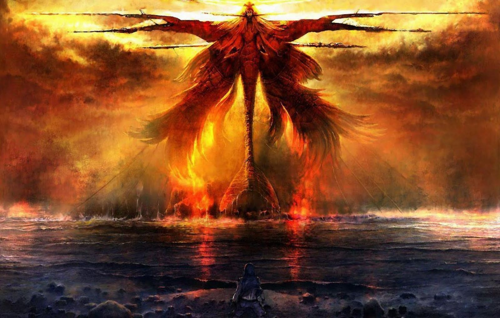 dragons and phoenix rising from ashes wallpapers - wallpaper cave
