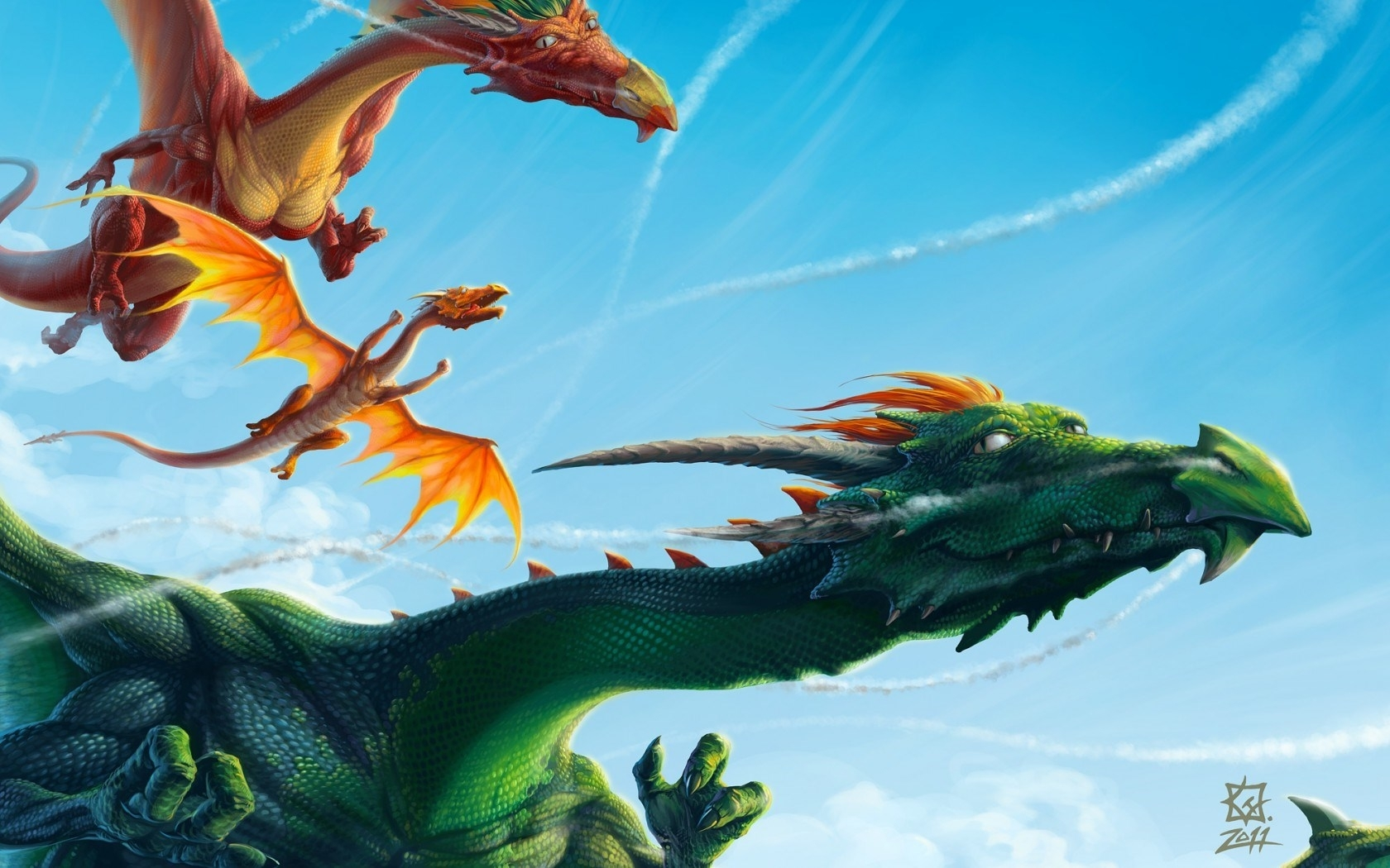dragons flying in the sky art #6919609