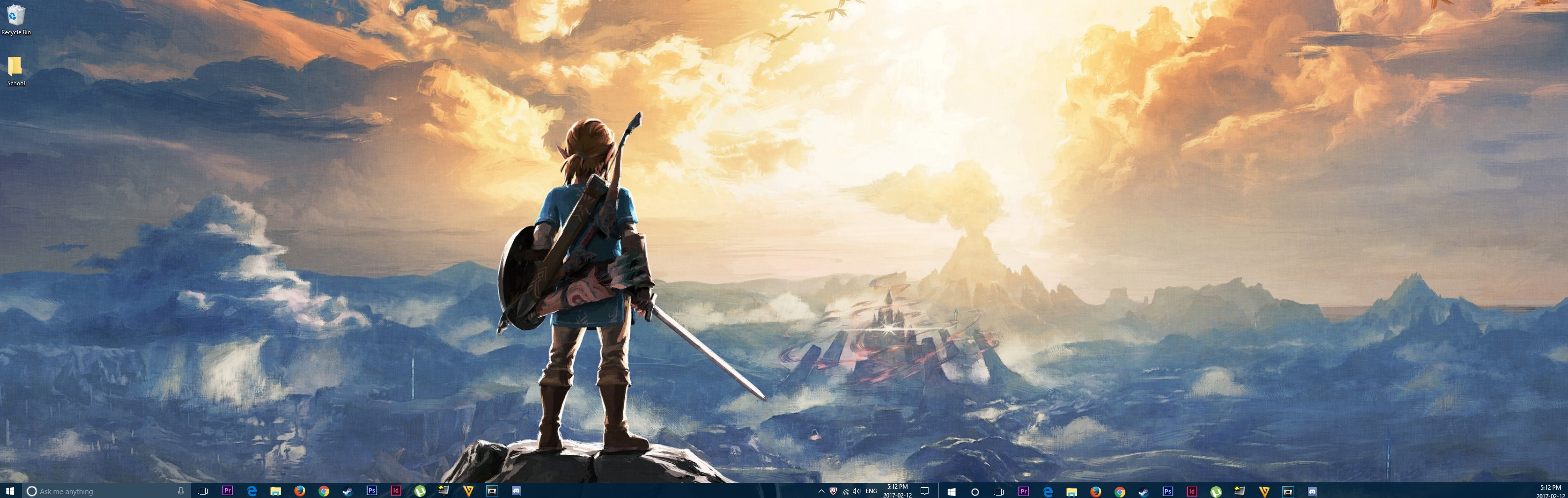 dual-monitor breath of the wild wallpaper looking pretty sweet