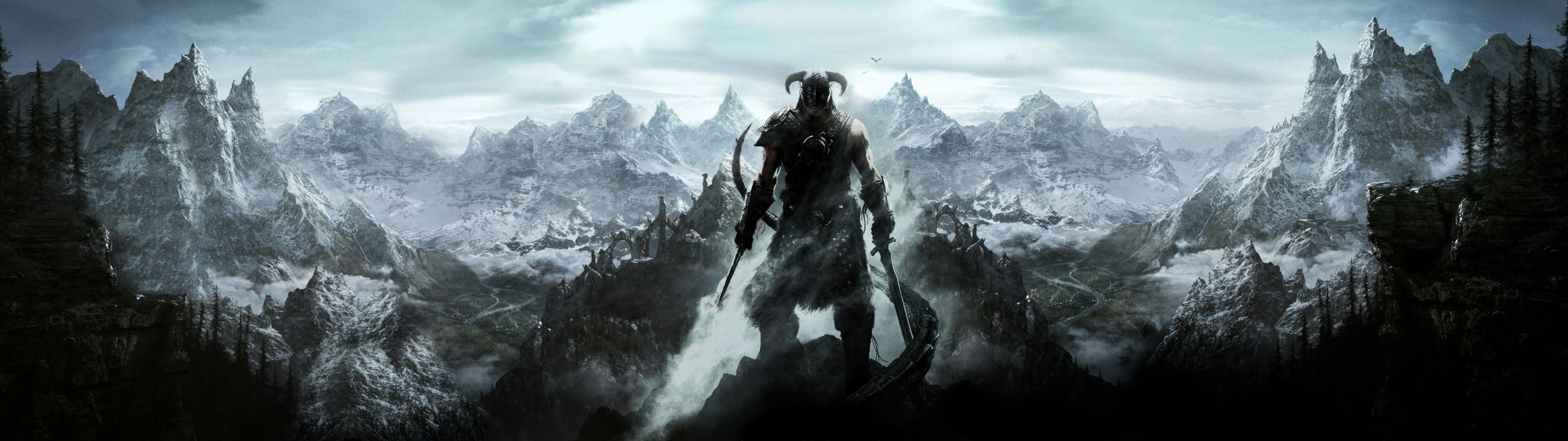 dual monitor scree mul multiple game skyrim wallpaper | 3840x1080